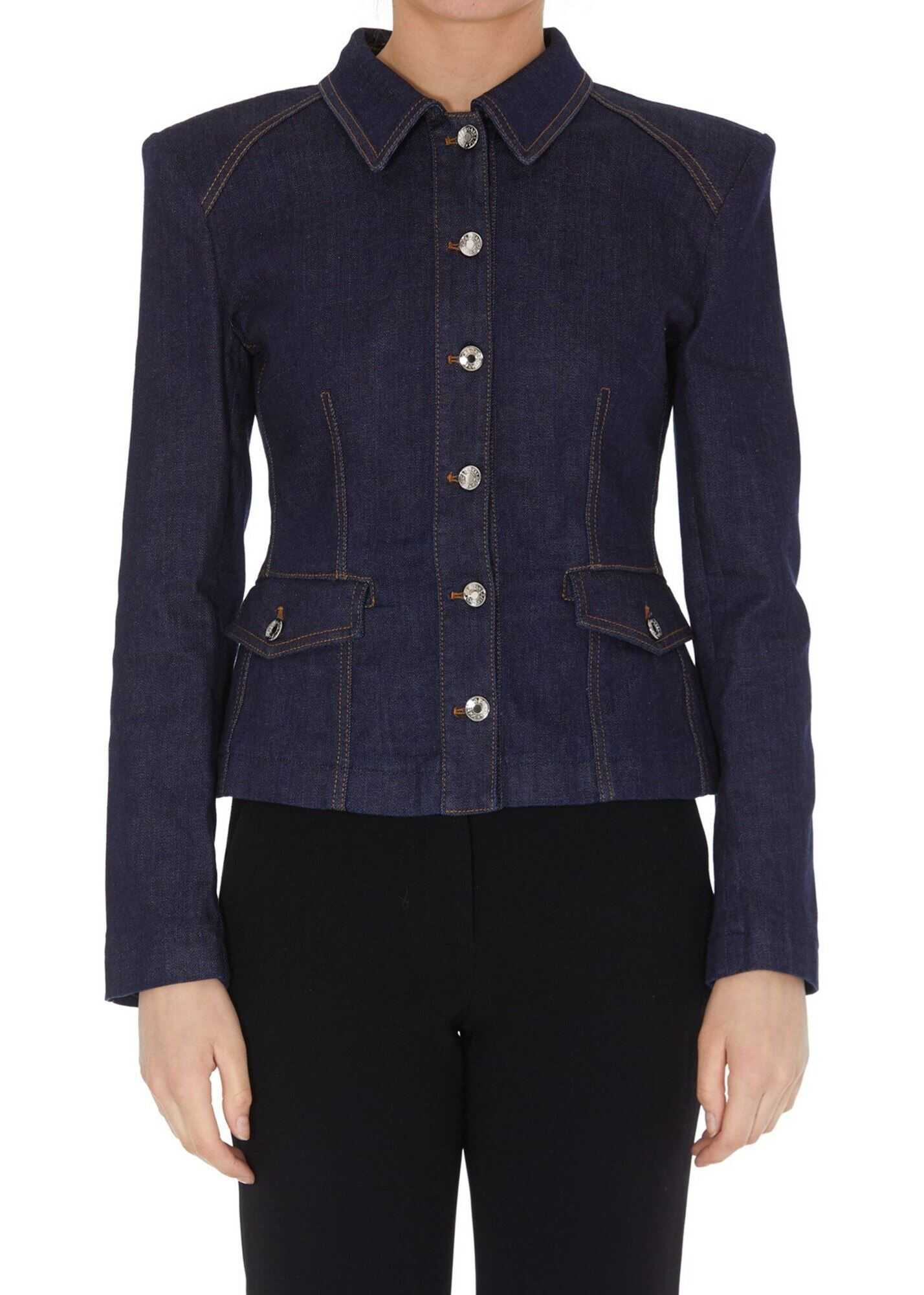 Dolce & Gabbana Denim Fitted Jacket In Blue Blue