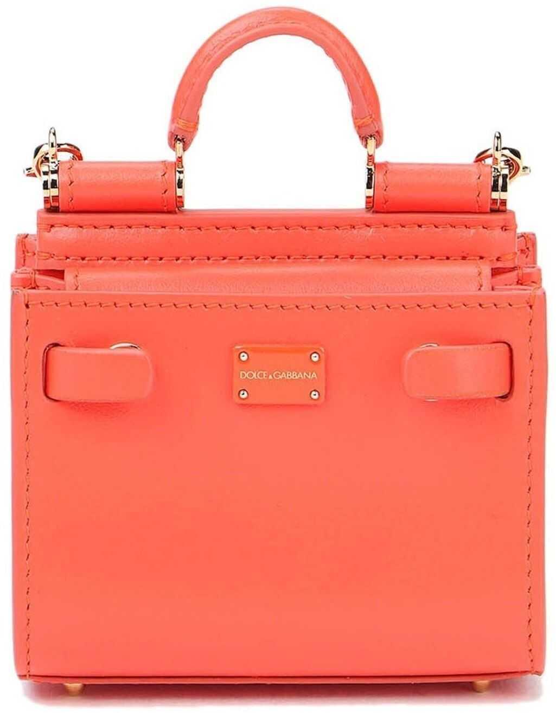 Dolce & Gabbana Sicily 62 Micro Bag In Coral Color Orange