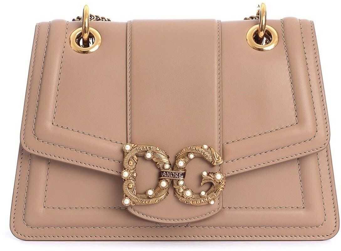 Dolce & Gabbana Amore Shoulder Bag In Beige Pink