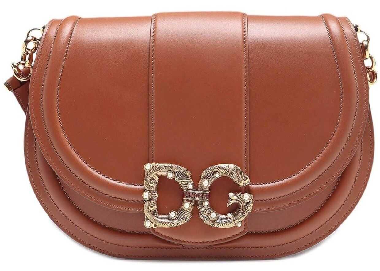 Dolce & Gabbana Medium Dg Amore Crossbody Bag In Brown Brown