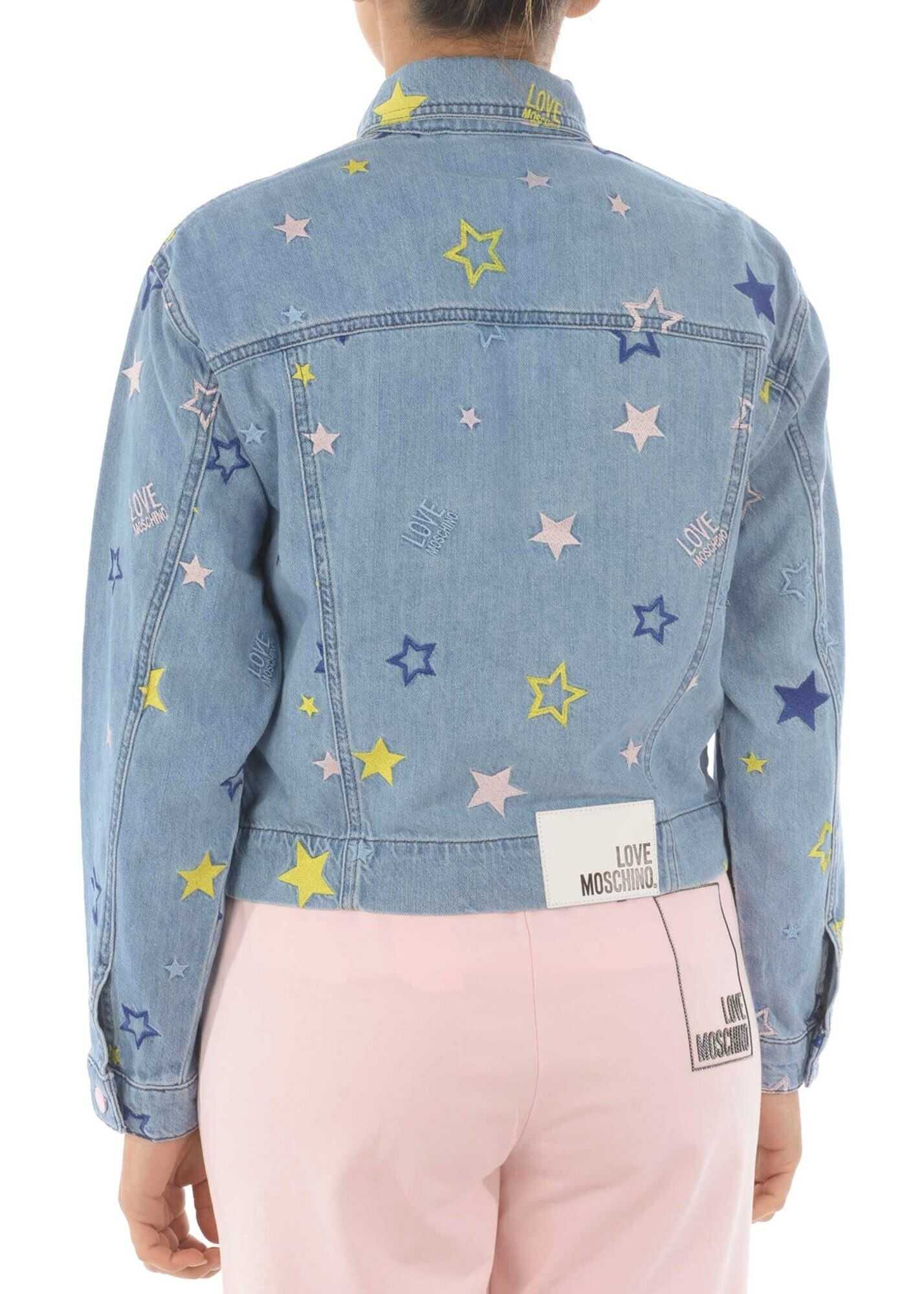 LOVE Moschino Star Print Denim Jacket In Light Blue Blue