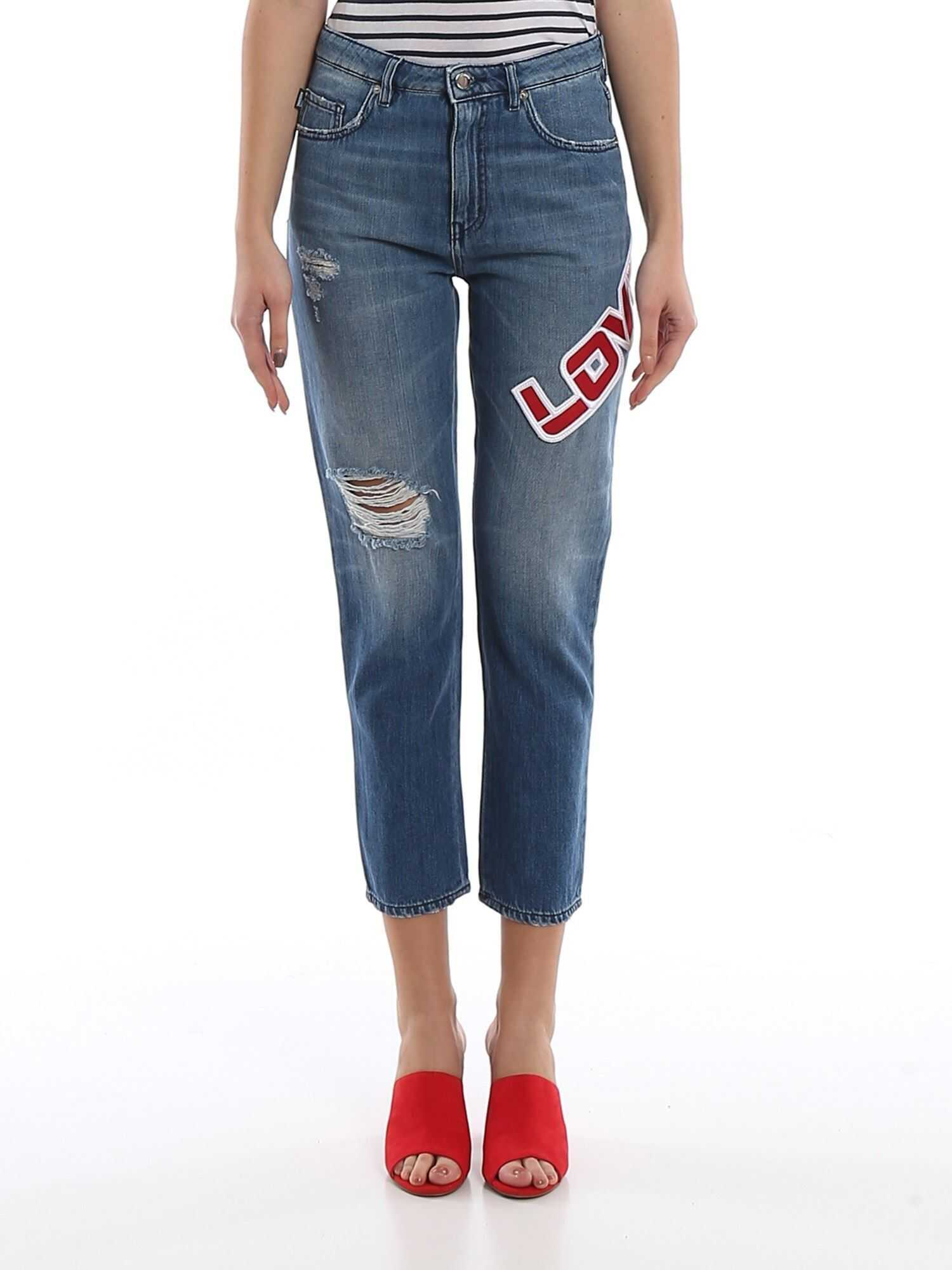 LOVE Moschino Love Patch Destroyed Jeans Blue
