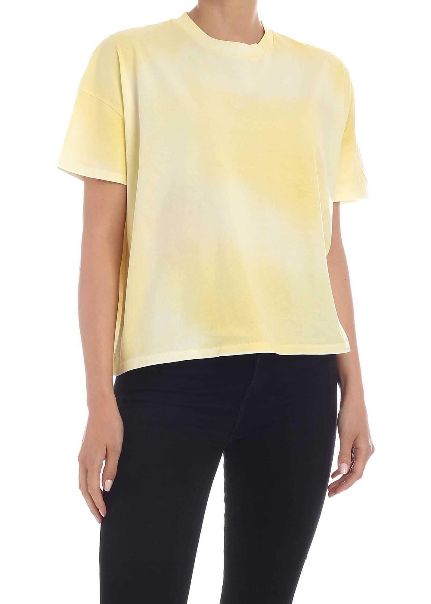 Moncler Logo T-Shirt In Faded Yellow Yellow