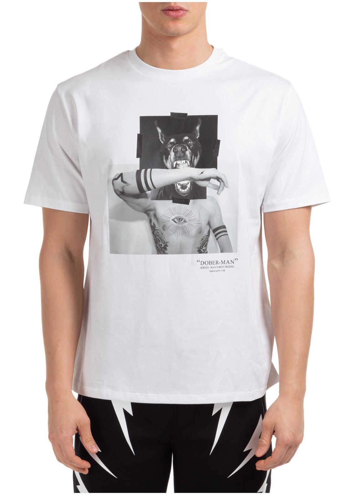 Neil Barrett Short Sleeve T-Shirt Crew Neckline Jumper Dober-Man White