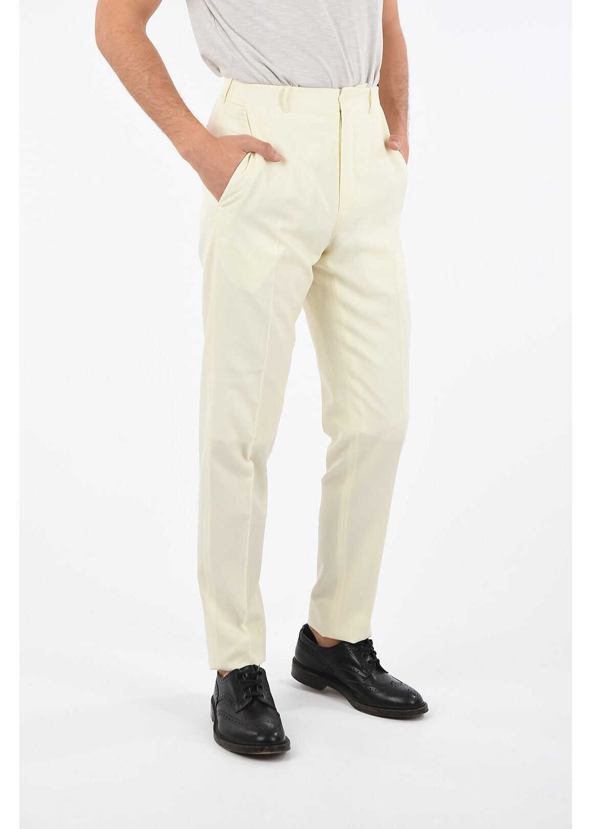 Dior HOMME Mid-rise waist single pleat pants WHITE