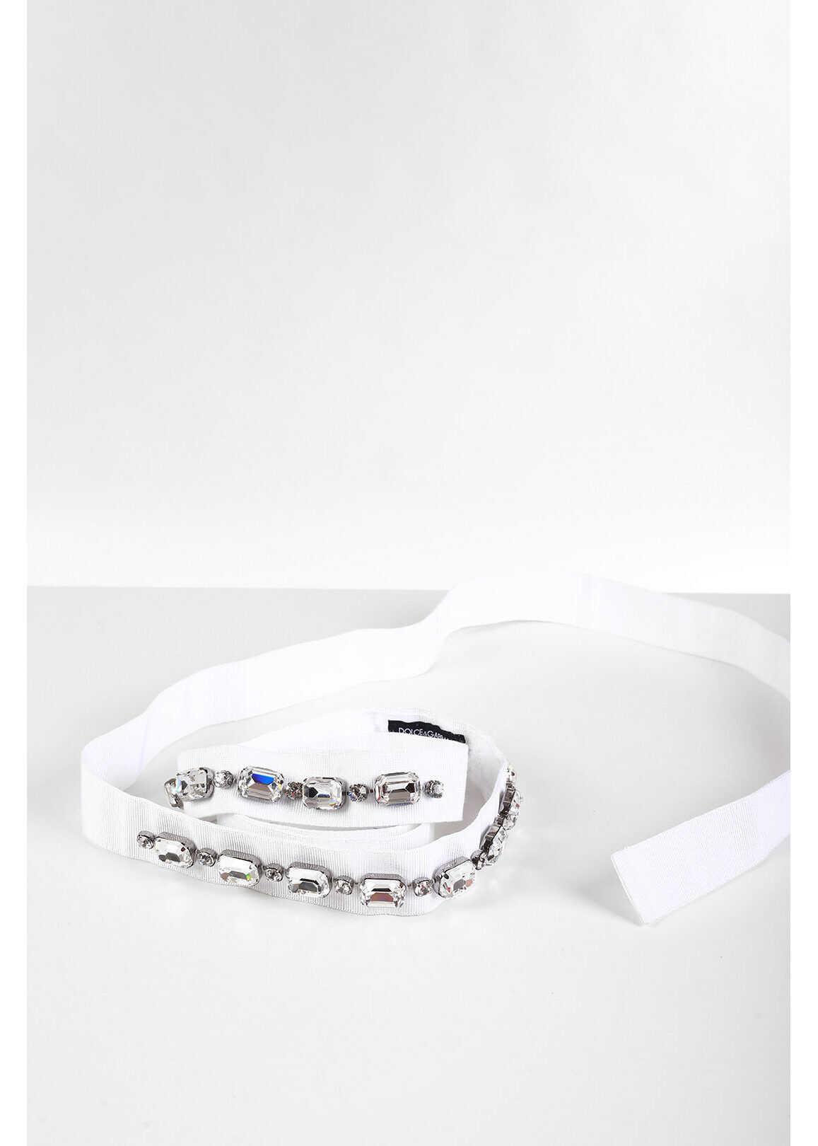 Dolce & Gabbana Belt with Crystals 30mm WHITE