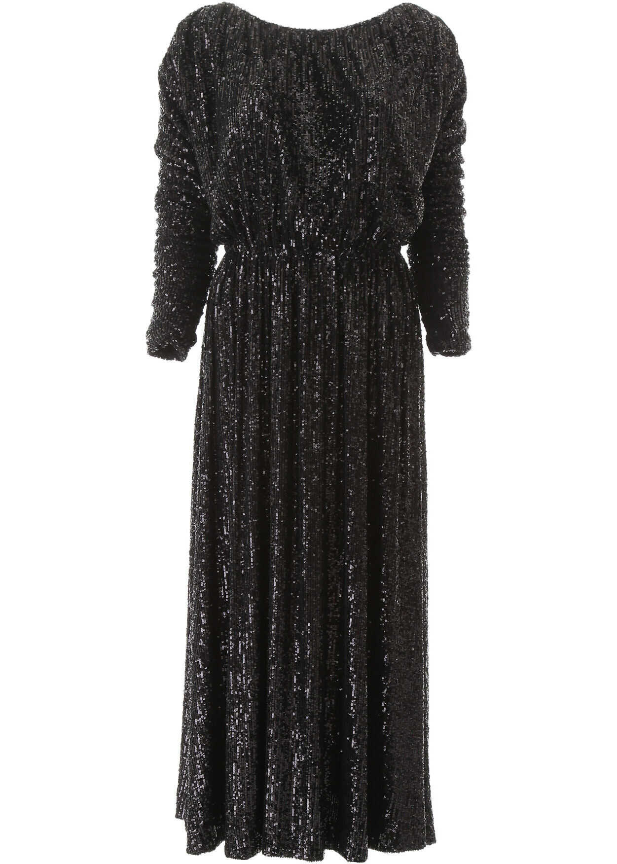 Saint Laurent Sequined Midi Dress NOIR NOIR BRILLANT