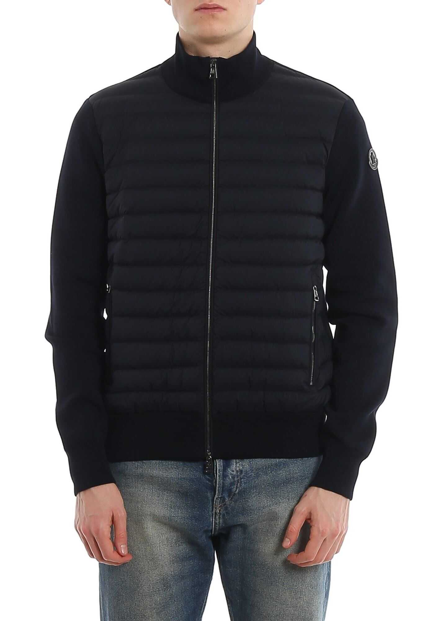 Moncler Padded Front Tricot Cardigan In Blue Blue