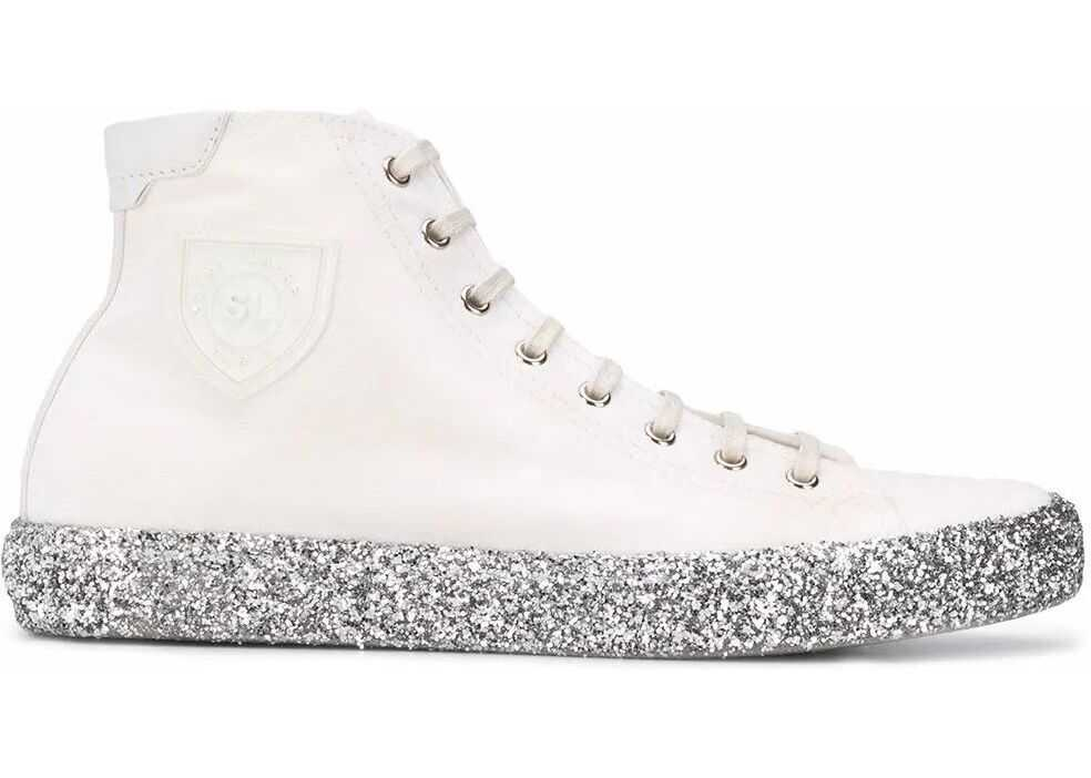 Saint Laurent Leather Hi Top Sneakers WHITE