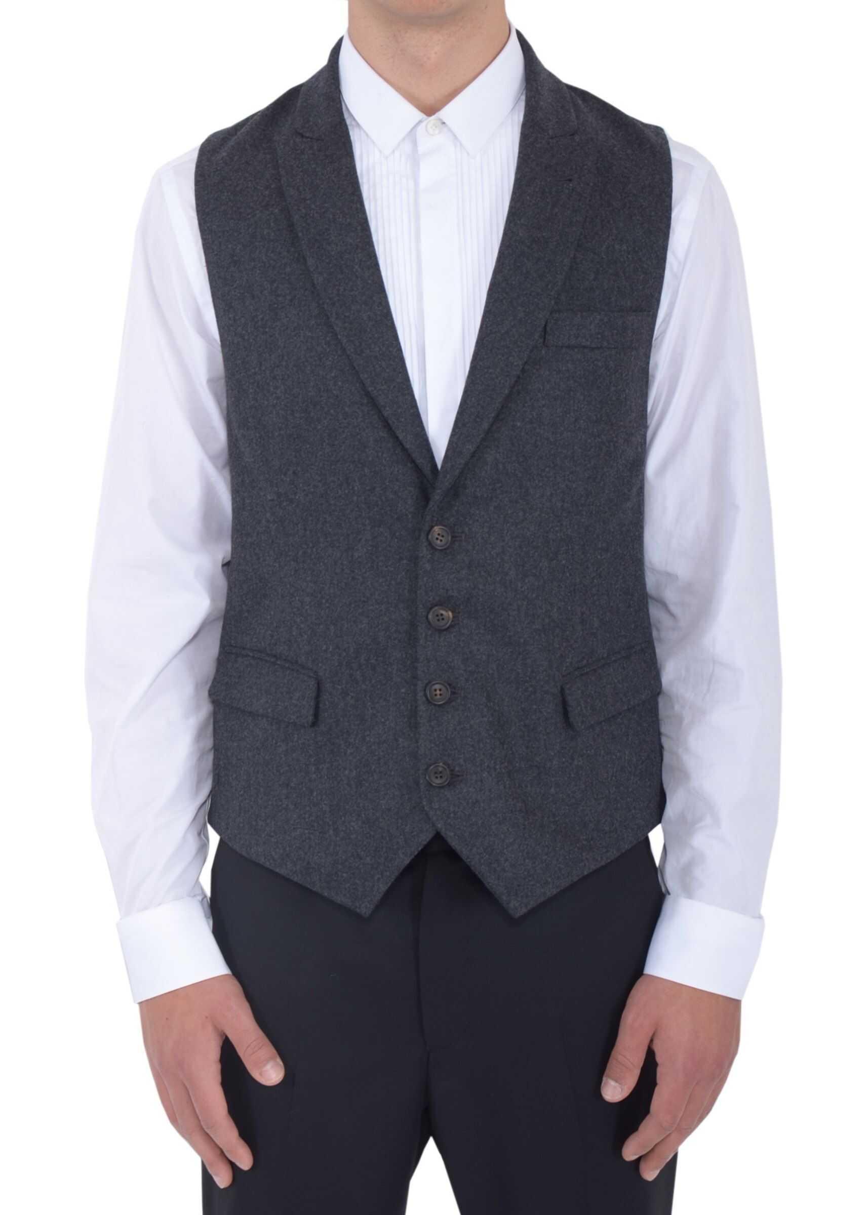 Brunello Cucinelli Classic Waistcoat GREY imagine