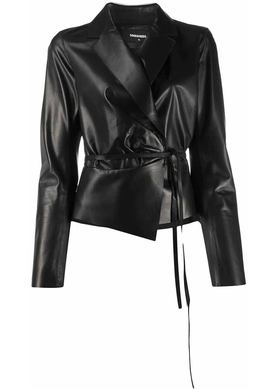 DSQUARED2 Leather Outerwear Jacket BLACK