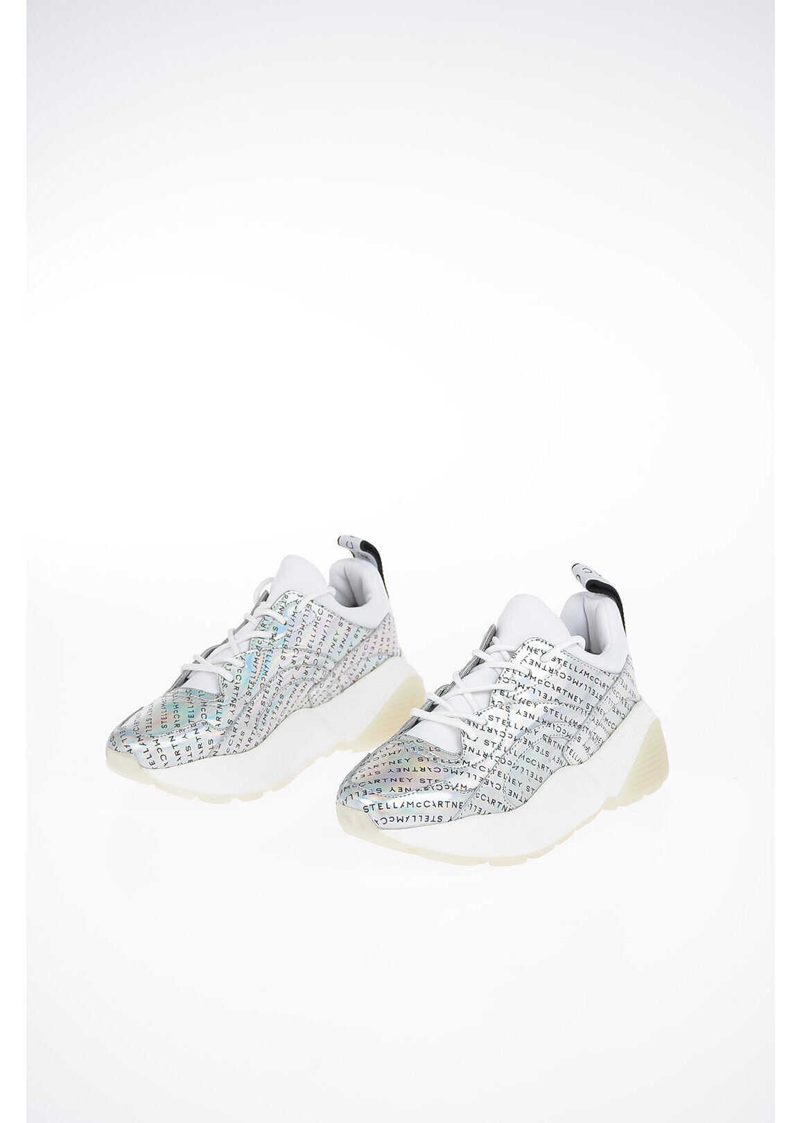 Stella McCartney Hologram Faux Leather Sneakers SILVER imagine b-mall.ro