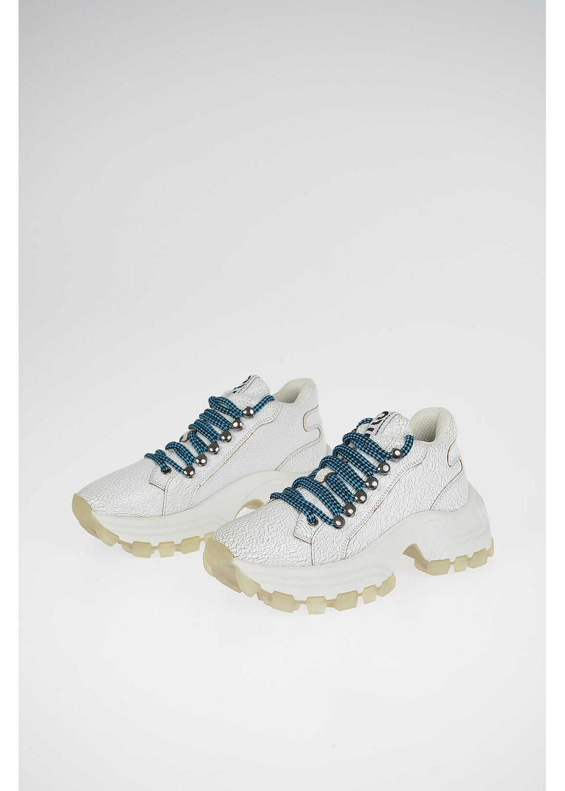 Miu Miu Cracked Leather Track Sneakers WHITE imagine b-mall.ro