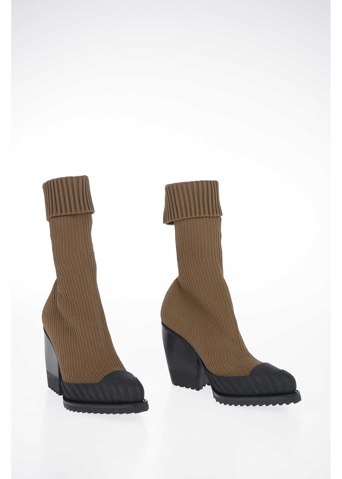 Chloe 9cm Fabric Socks Ankle Boots BROWN