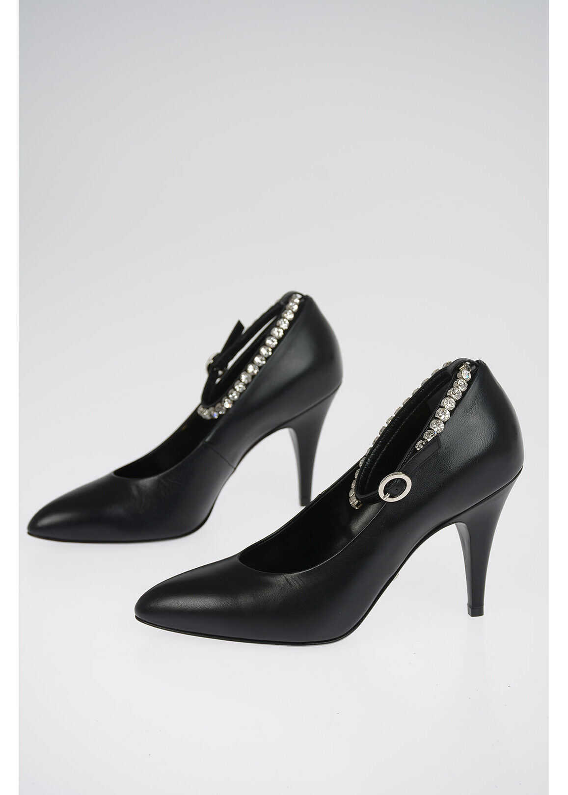 Gucci Leather Pumps with Jewel Ankle Strap 10 cm BLACK imagine b-mall.ro