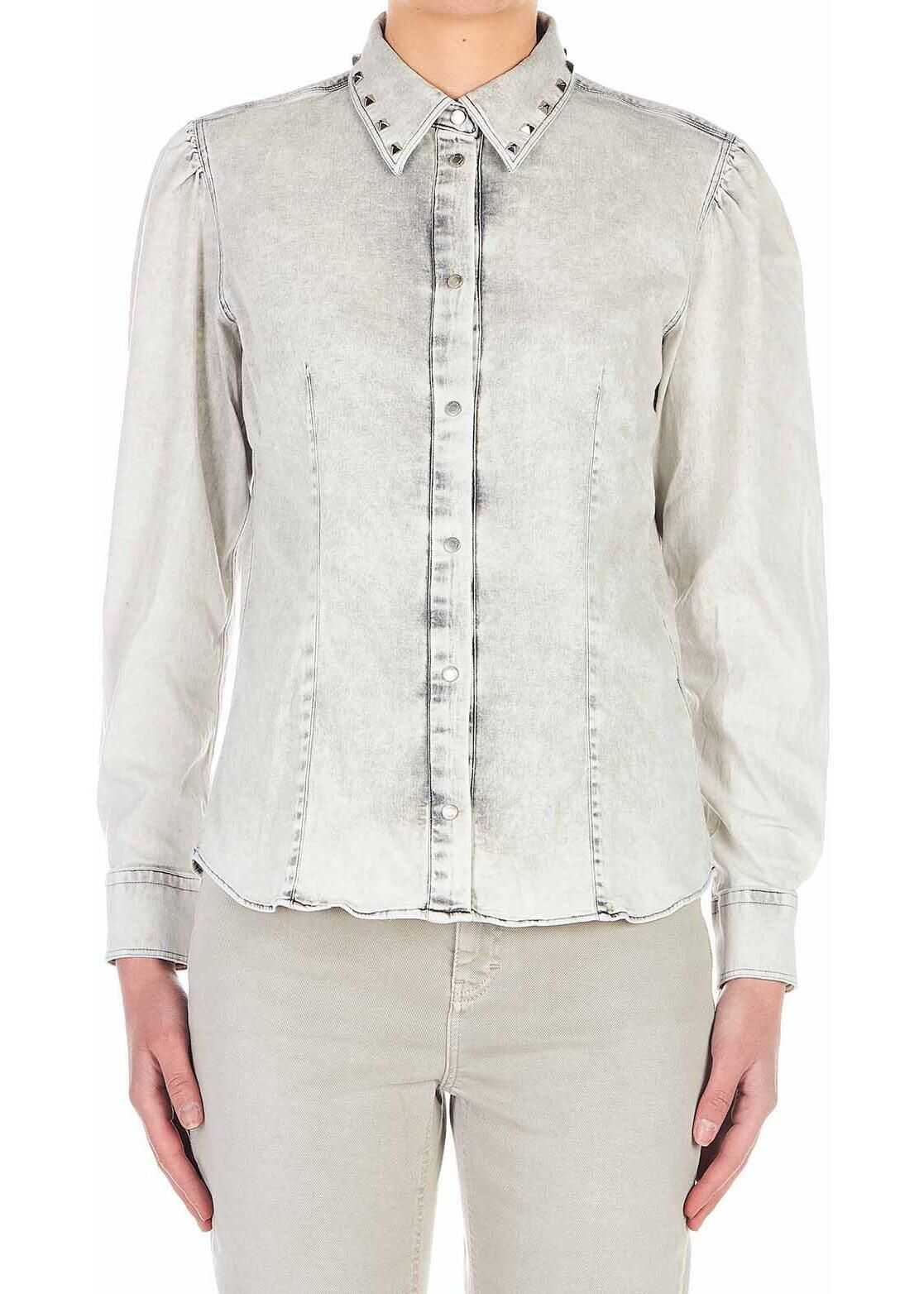 Dondup Denim blouse with stud details Grey