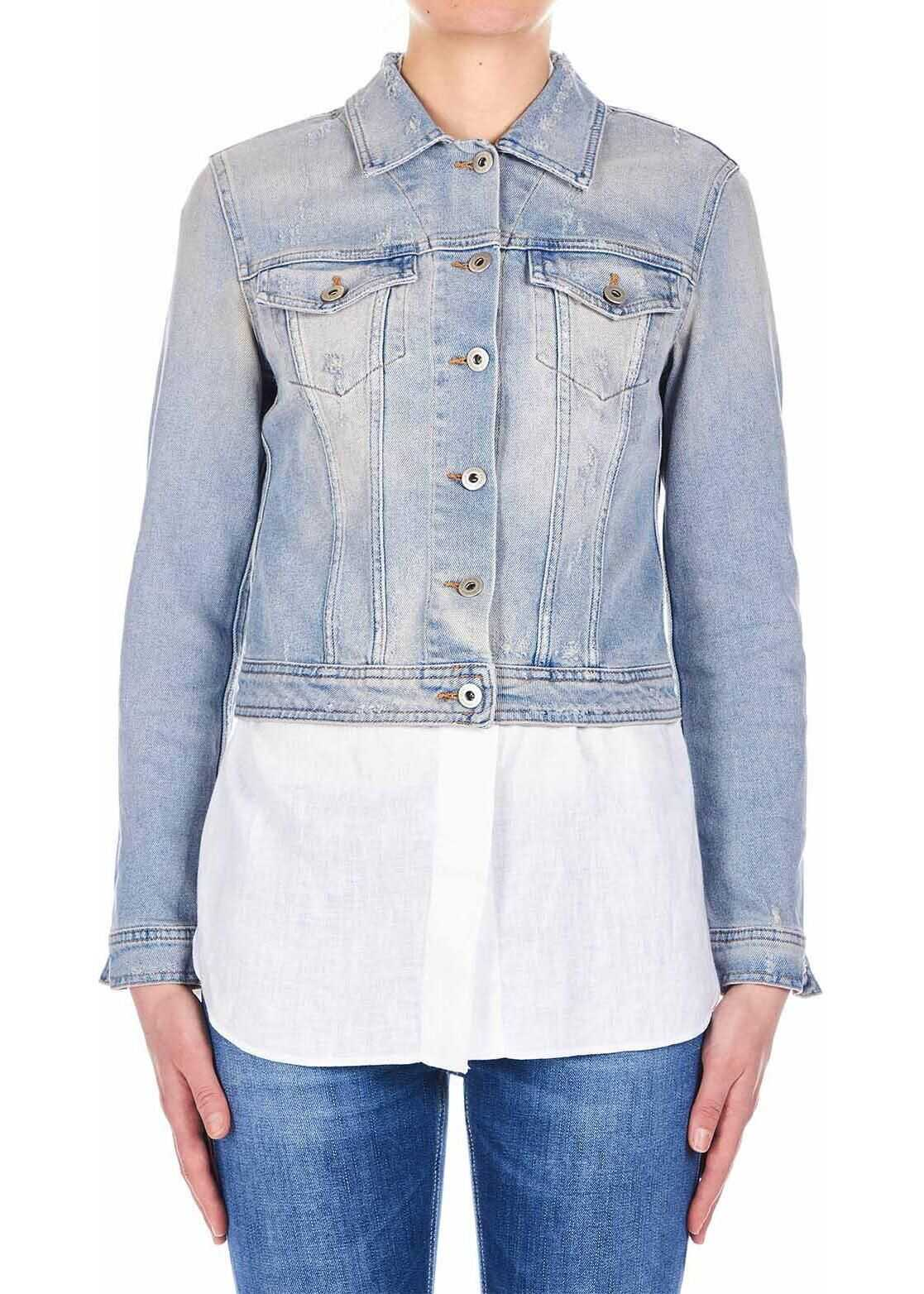 Dondup Denim jacket with chest pockets Blue