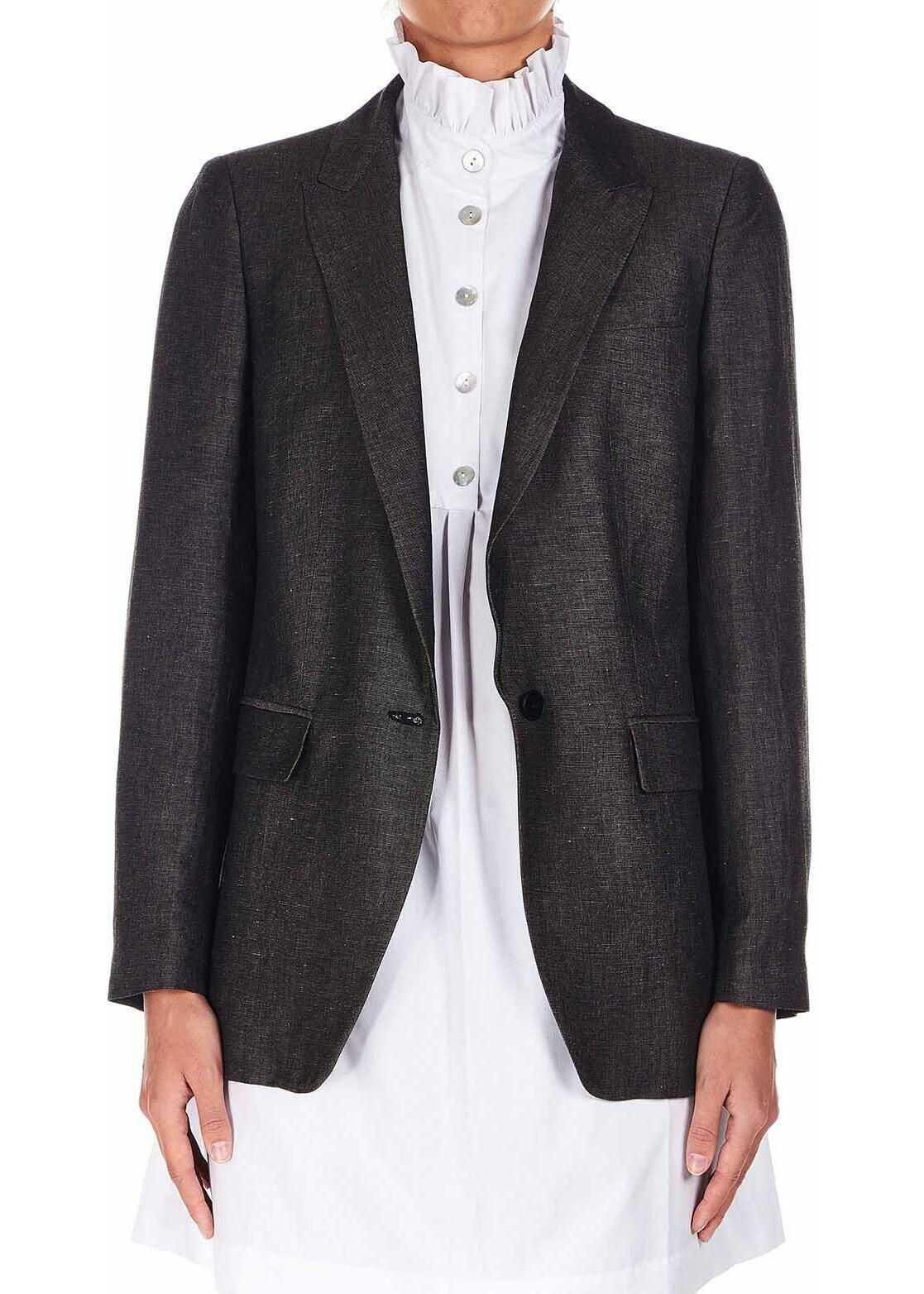 Dondup Linen blend blazer Grey