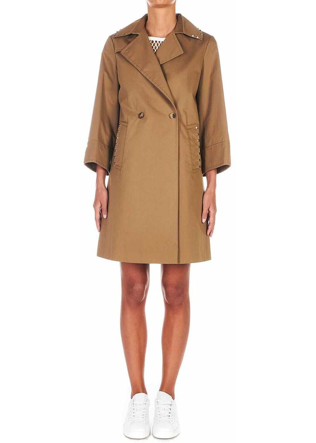 Dondup Coat with stud details Brown
