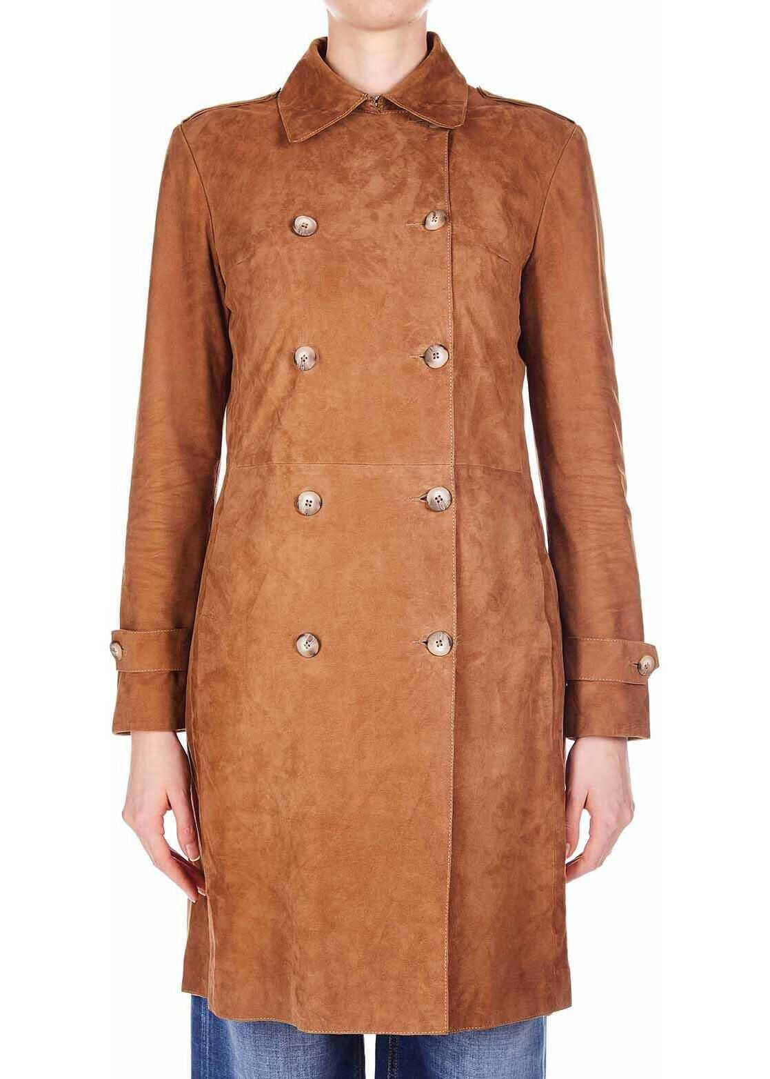 Dondup Trench coat in suede Brown