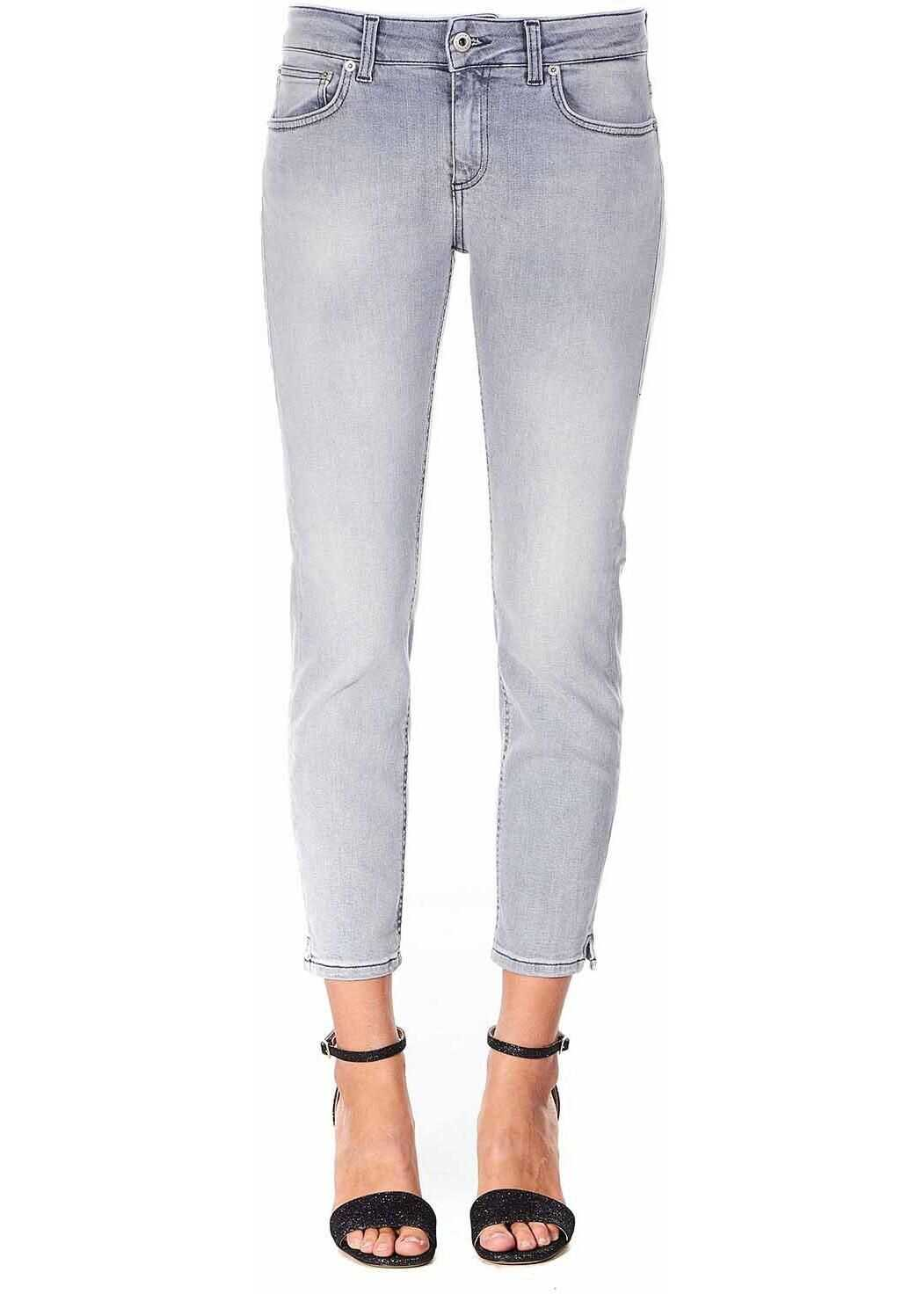 Dondup Cropped Slim Fit Jeans Newdia Grey