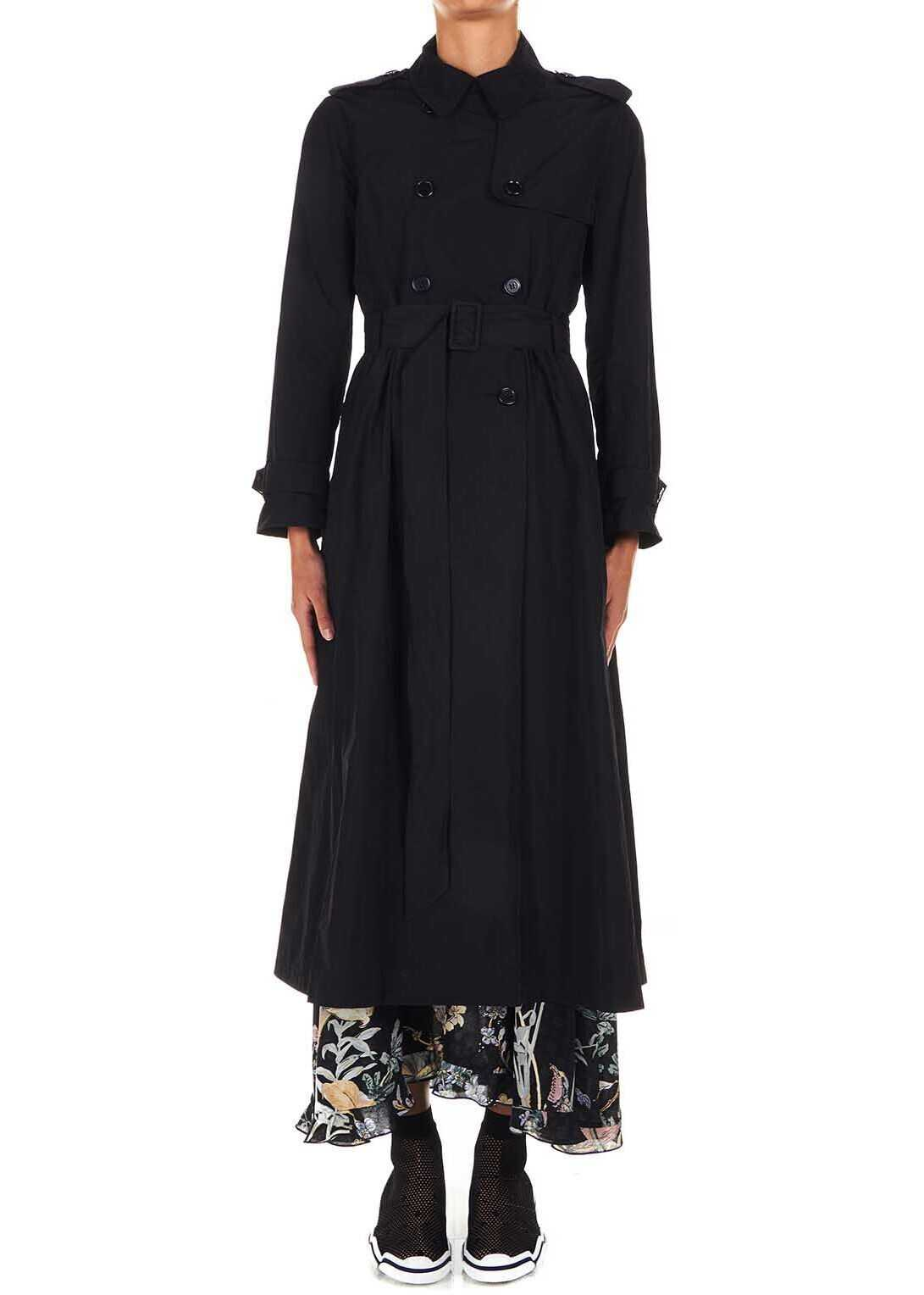 RED VALENTINO Trench coat in tech-fabric Black