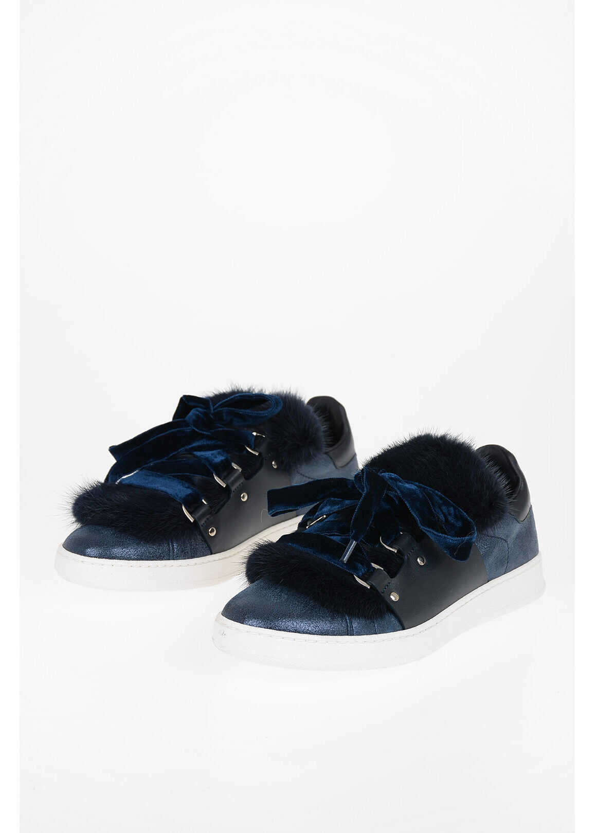 Moncler Leather Sneakers with Mink Fur Details BLUE