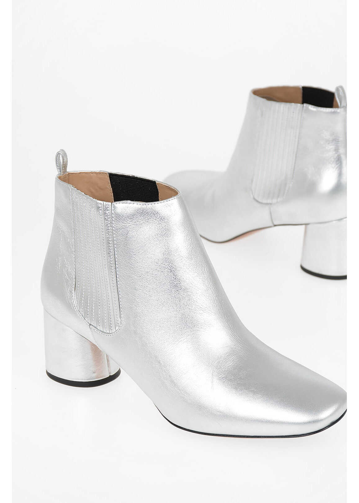 Marc Jacobs Metallic Leather Pull On Booties 6 cm SILVER
