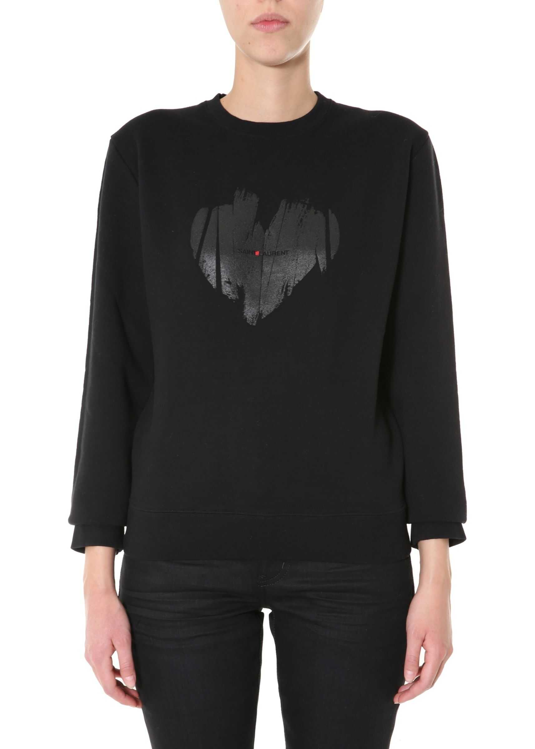 Saint Laurent Printed Sweatshirt BLACK