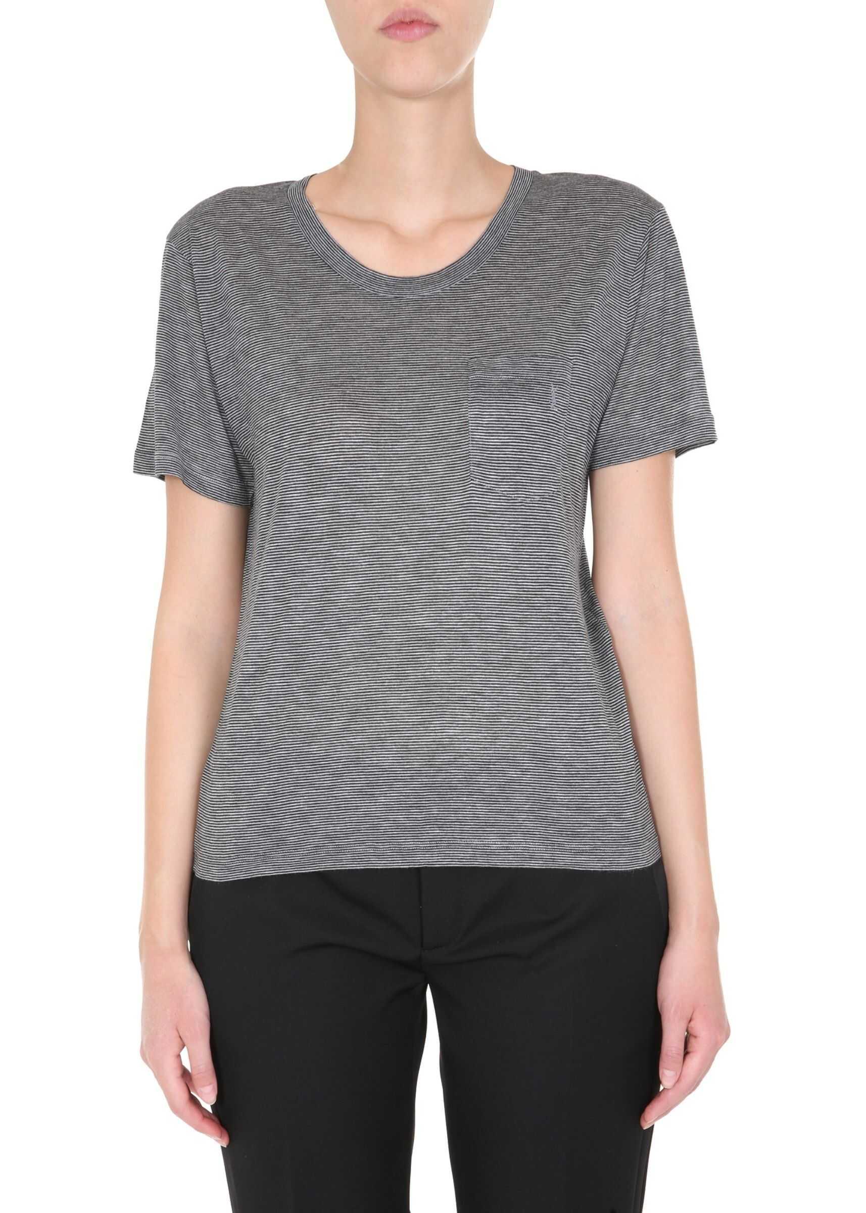 Saint Laurent Round Neck T-Shirt GREY