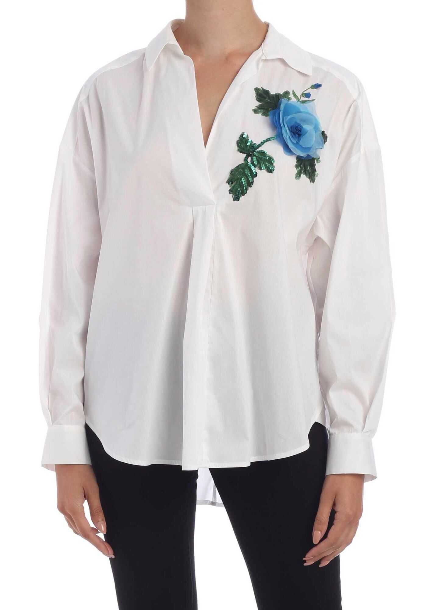 Blumarine Floral Embroidery Oversized Blouse In White White