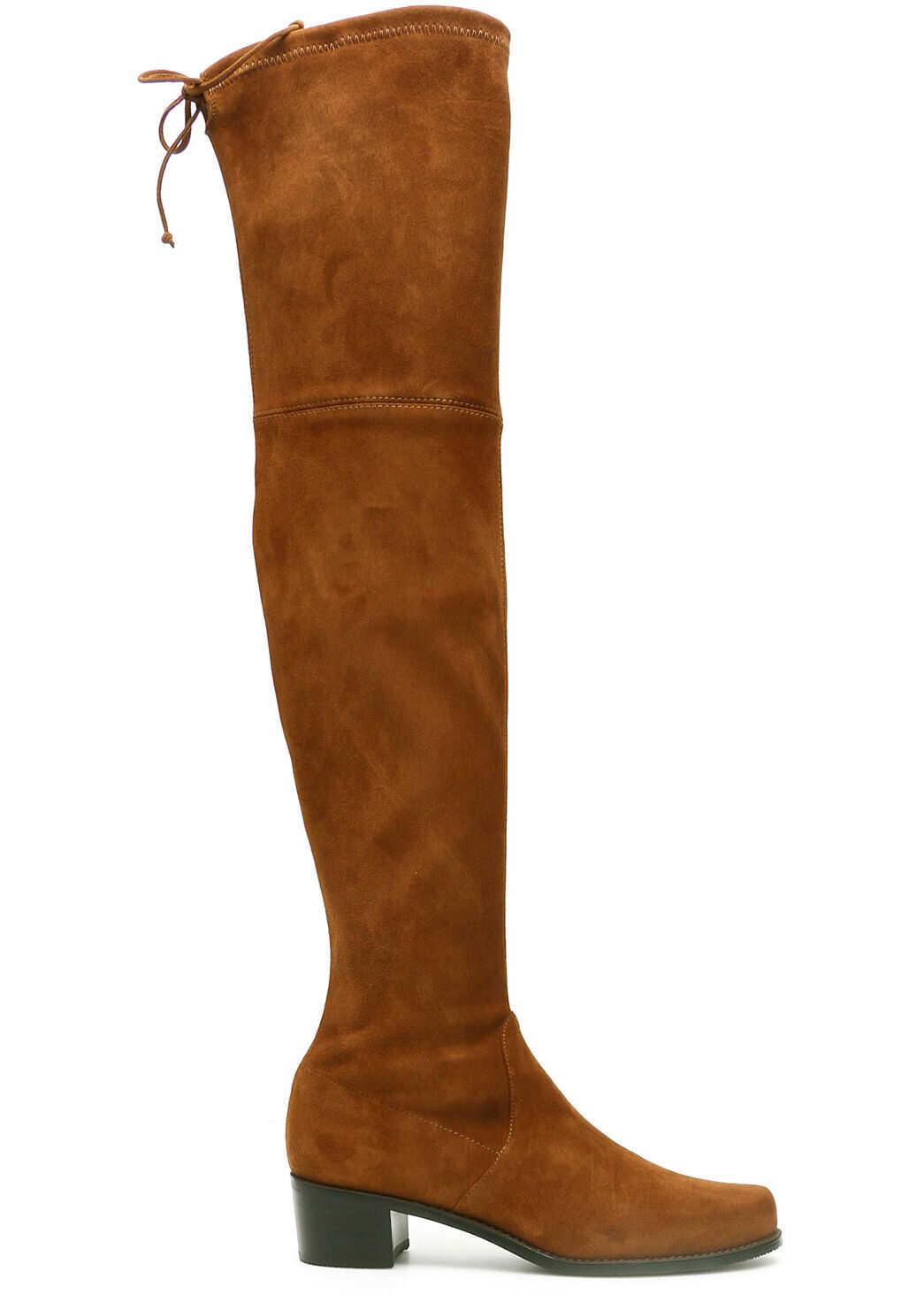 Stuart Weitzman Suede Midland Boots MIDLAND COFFEE imagine b-mall.ro
