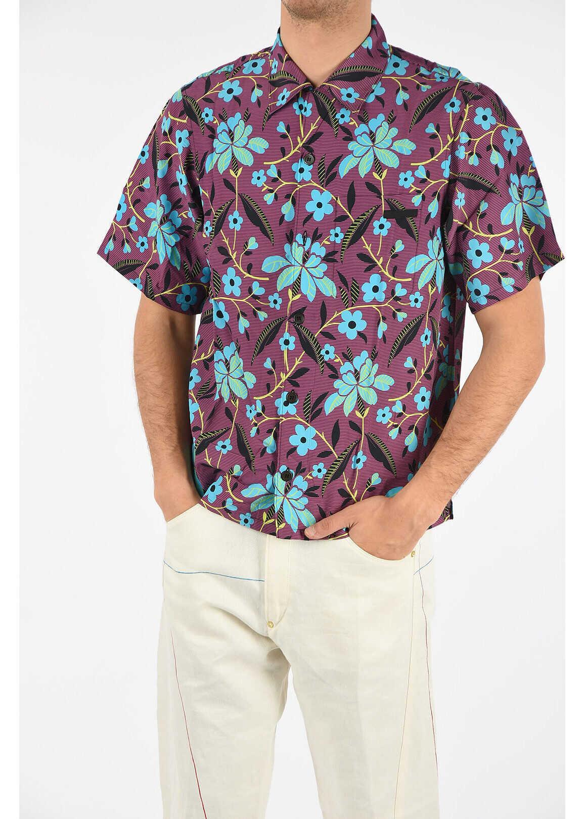 Prada Striped And Flowers Shirt VIOLET