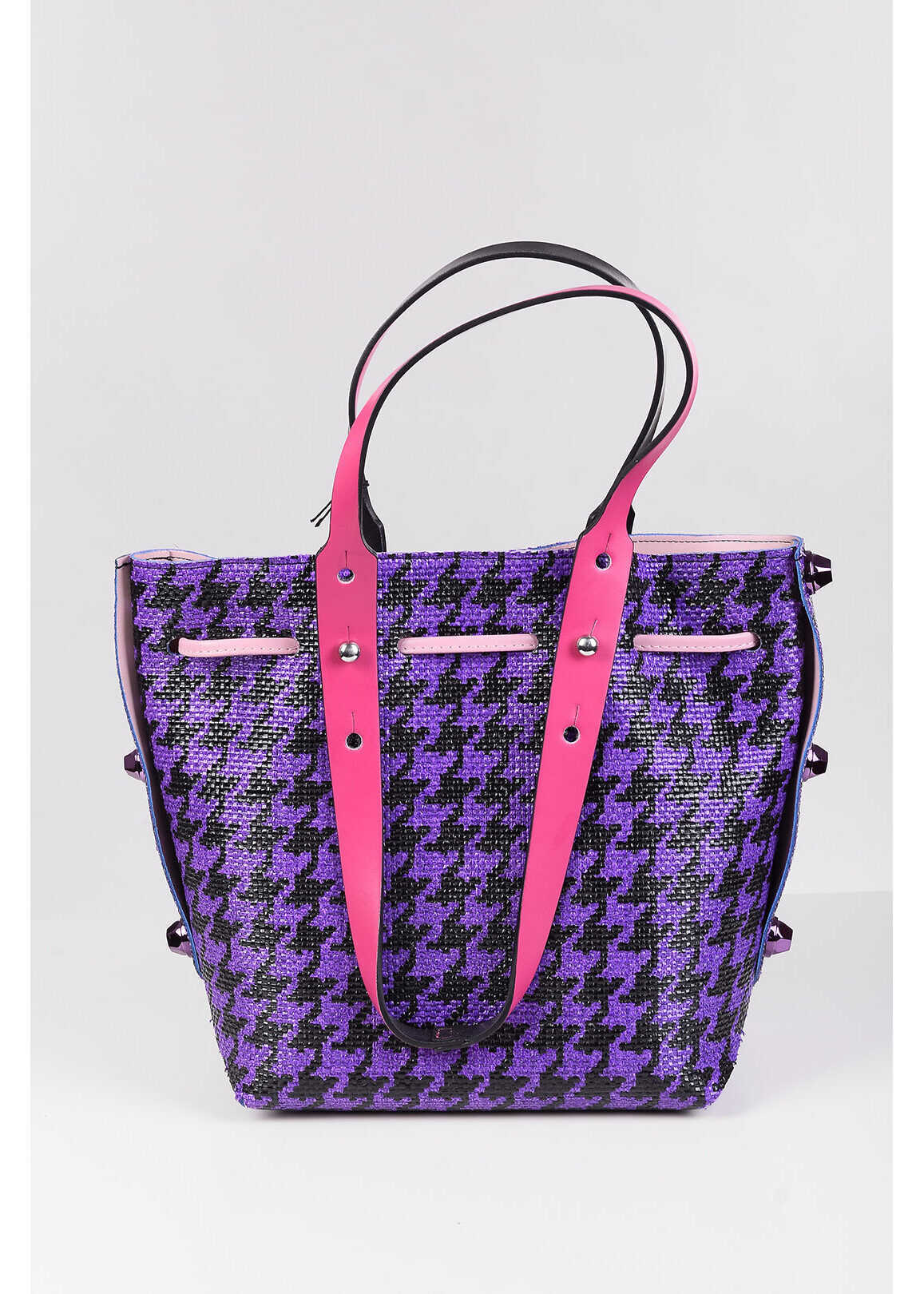 Twist HPO Straw and Faux Leather TWIST Bucket Bag VIOLET imagine b-mall.ro