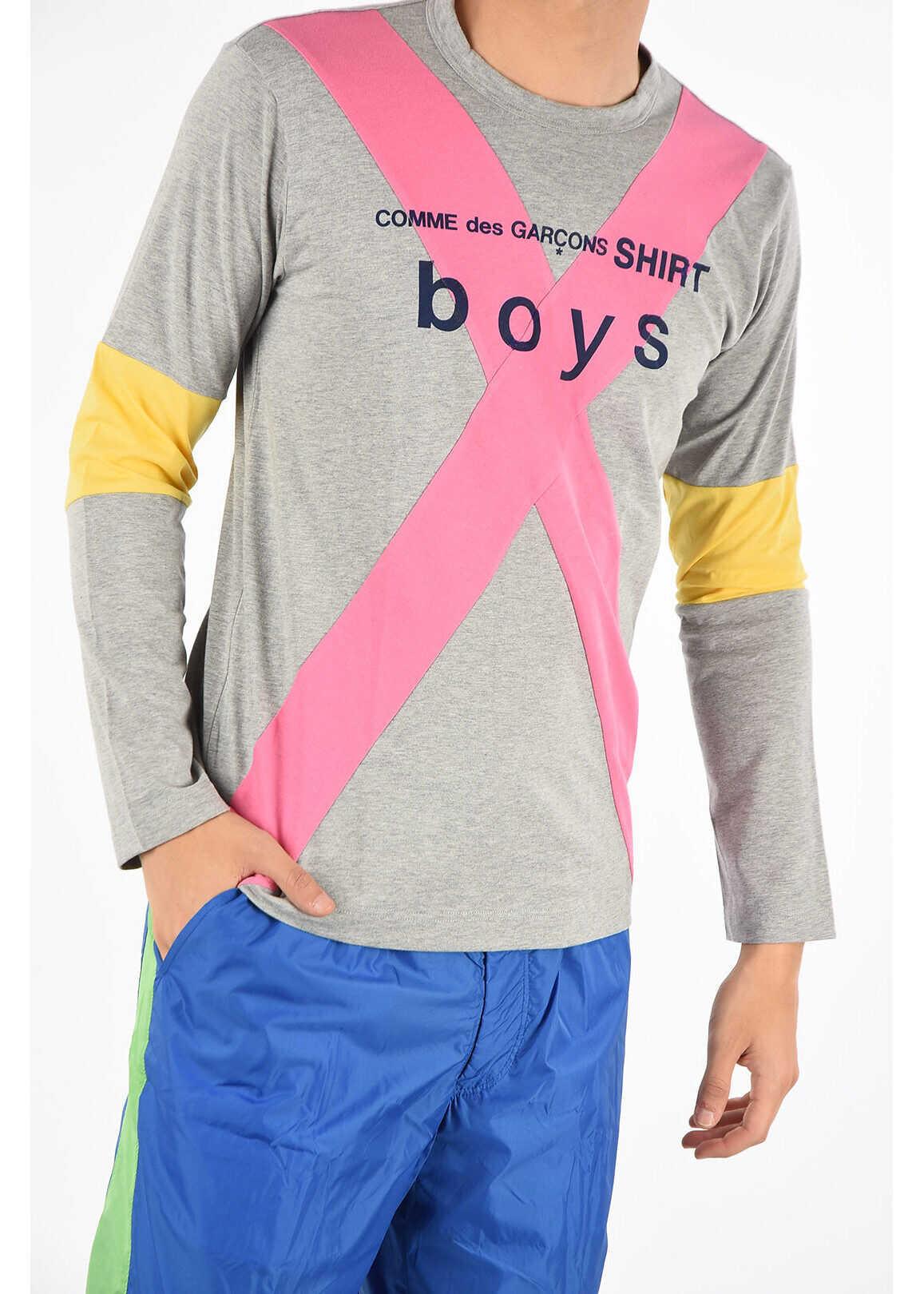 Comme des Garçons SHIRT BOYS Cotton Long Sleeve T-shirt GRAY imagine