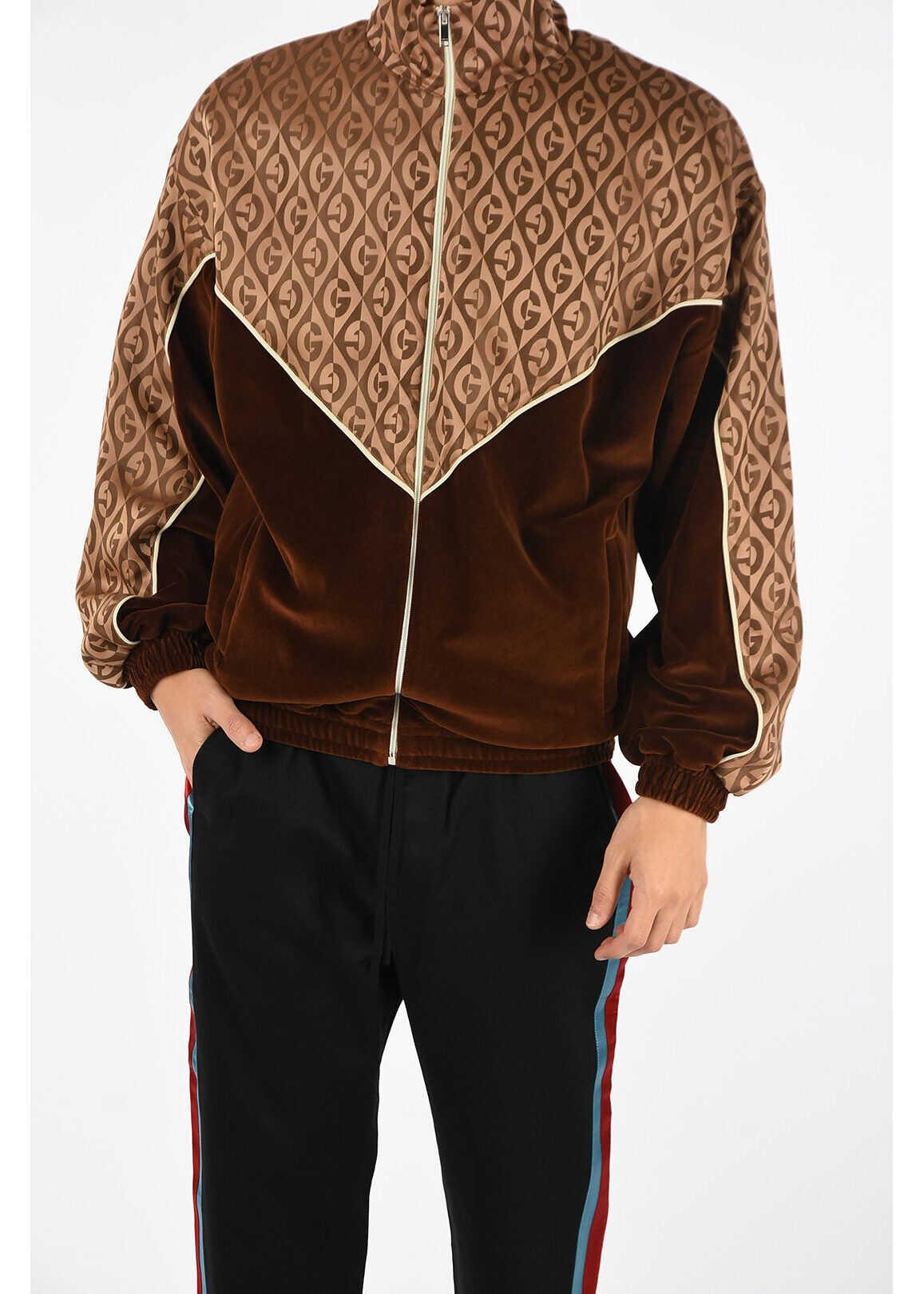 Gucci Velvet Embroidered Sweashirt BROWN