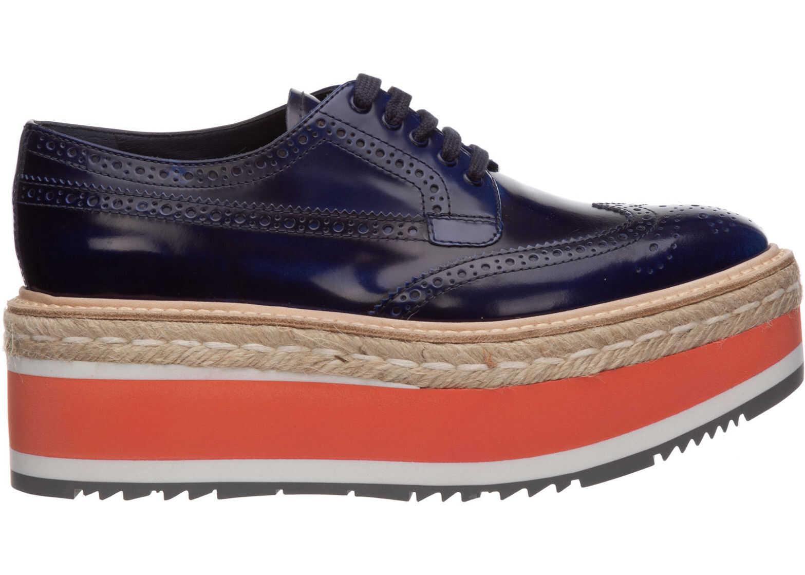 Prada Shoes Derby 1E206D_XQR_F0215_F_D65 Blue imagine b-mall.ro