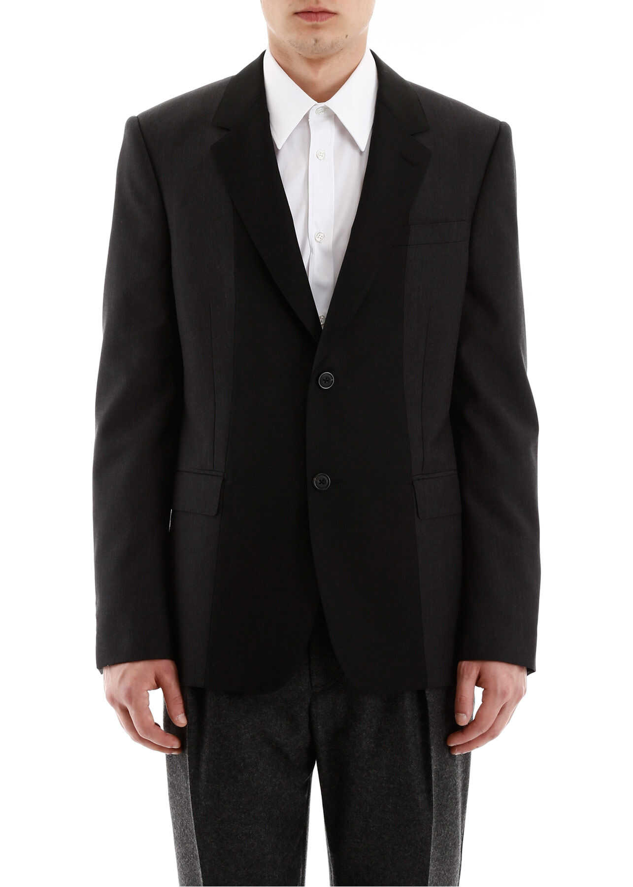 Alexander McQueen Hybrid Wool Blazer CHARCOAL imagine