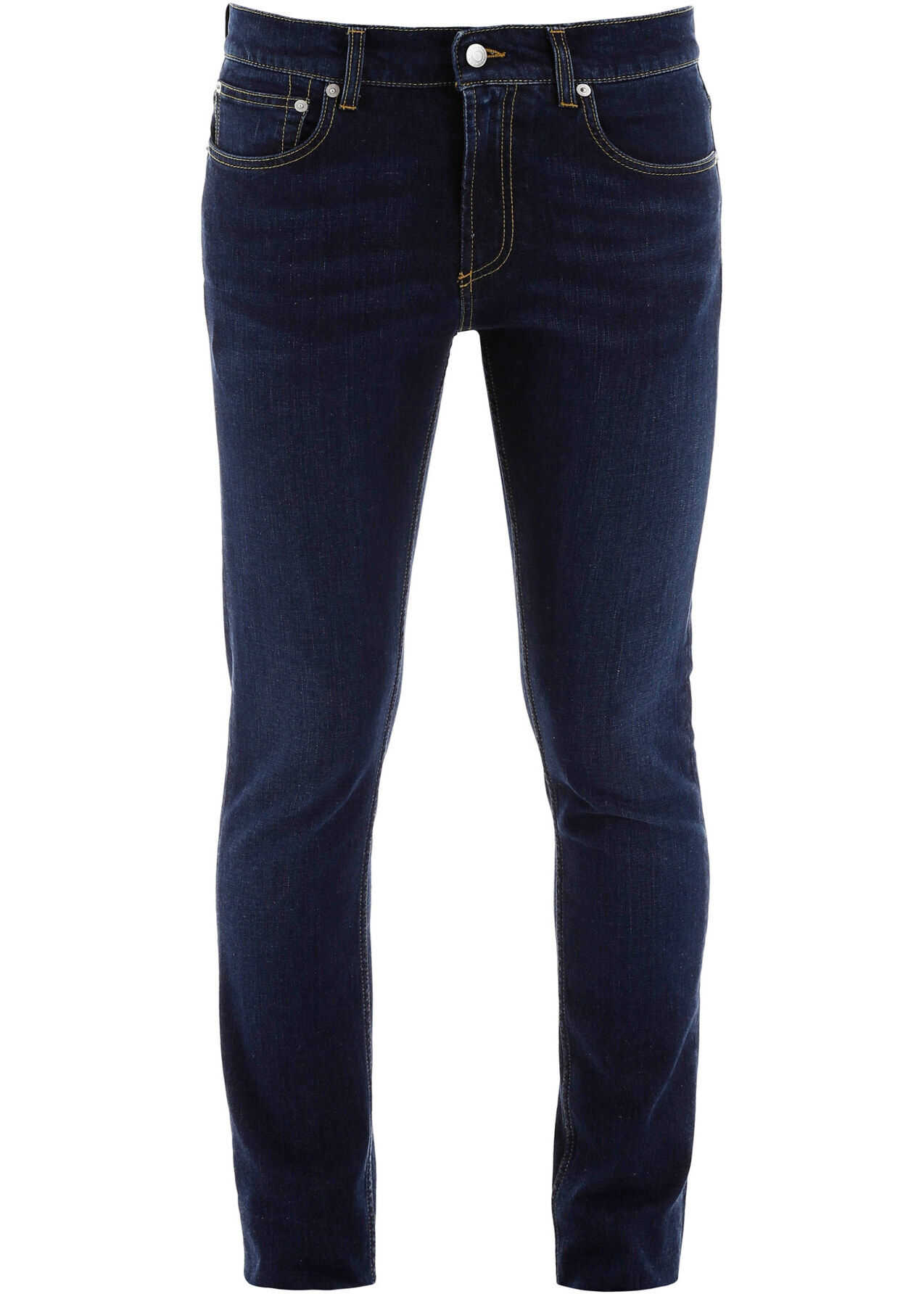Alexander McQueen Slim Fit Jeans With Logo Embroidery BLU WASHED