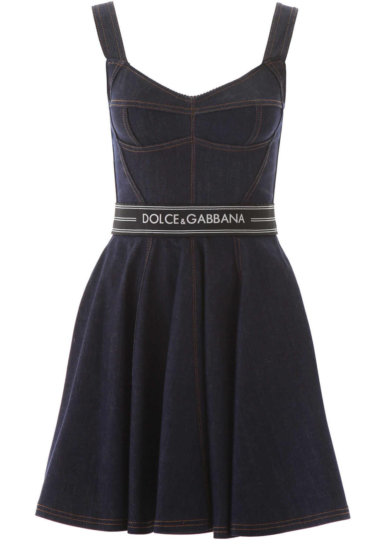 Dolce & Gabbana Denim Mini Dress With Logo VARIANTE ABBINATA