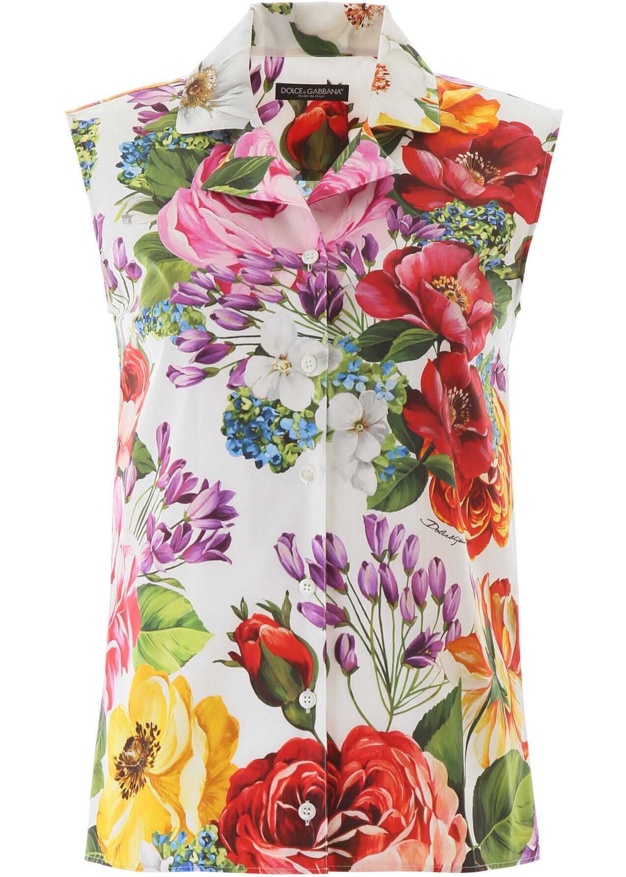 Dolce & Gabbana Floral Sleeveless Shirt MIX FIORI FDO BIANCO