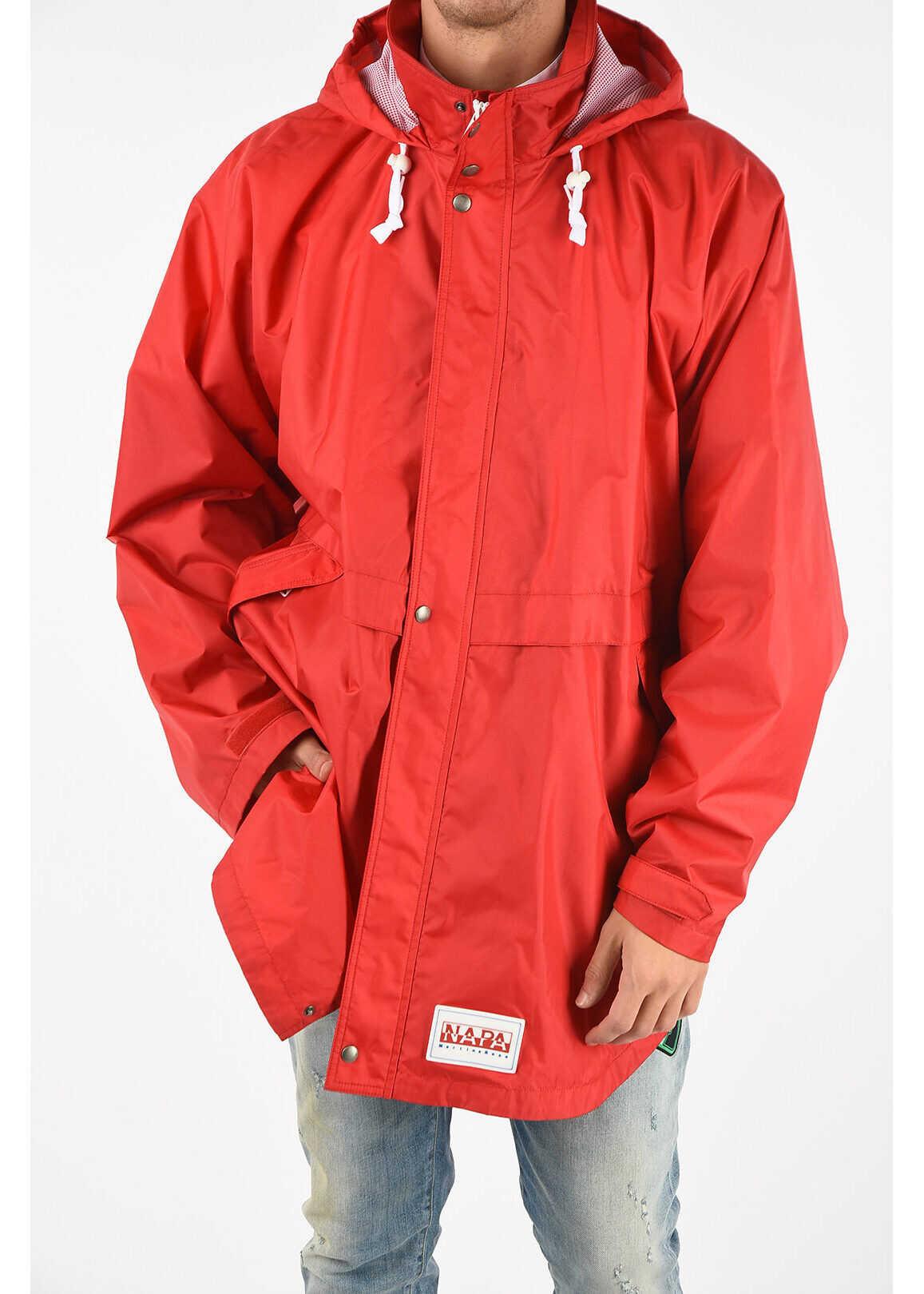 Napapijri MARTINE ROSE Waterproof RAINFOREST OP ALPHA Coat RED imagine