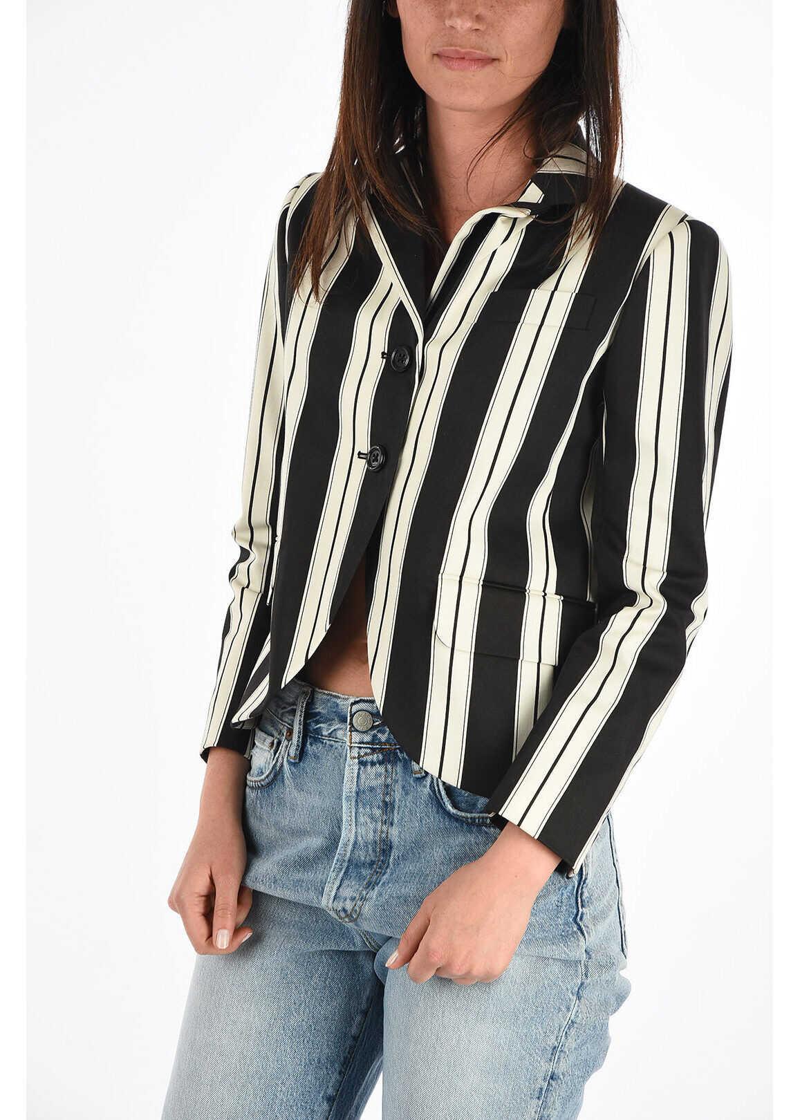 Marc Jacobs REDUX GRUNGE Striped Blazer BLACK & WHITE