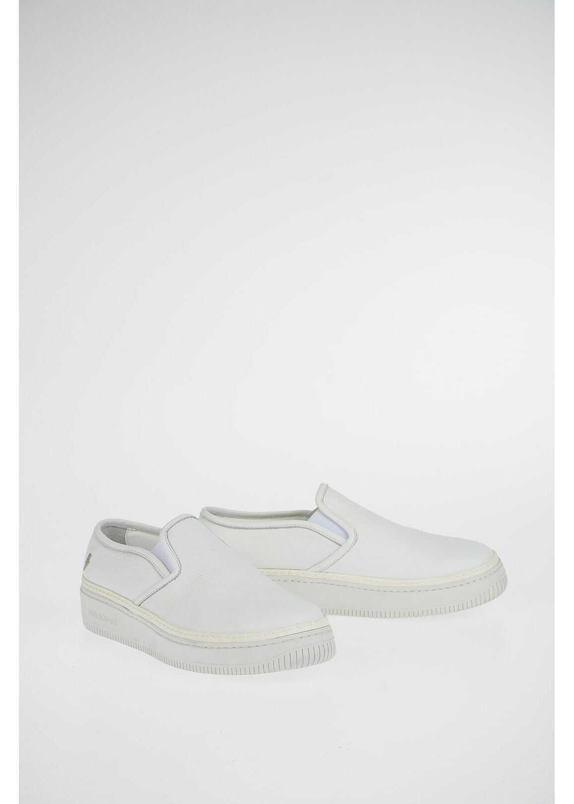Neil Barrett Leather BASKET TRAINER Slip On Sneakers WHITE