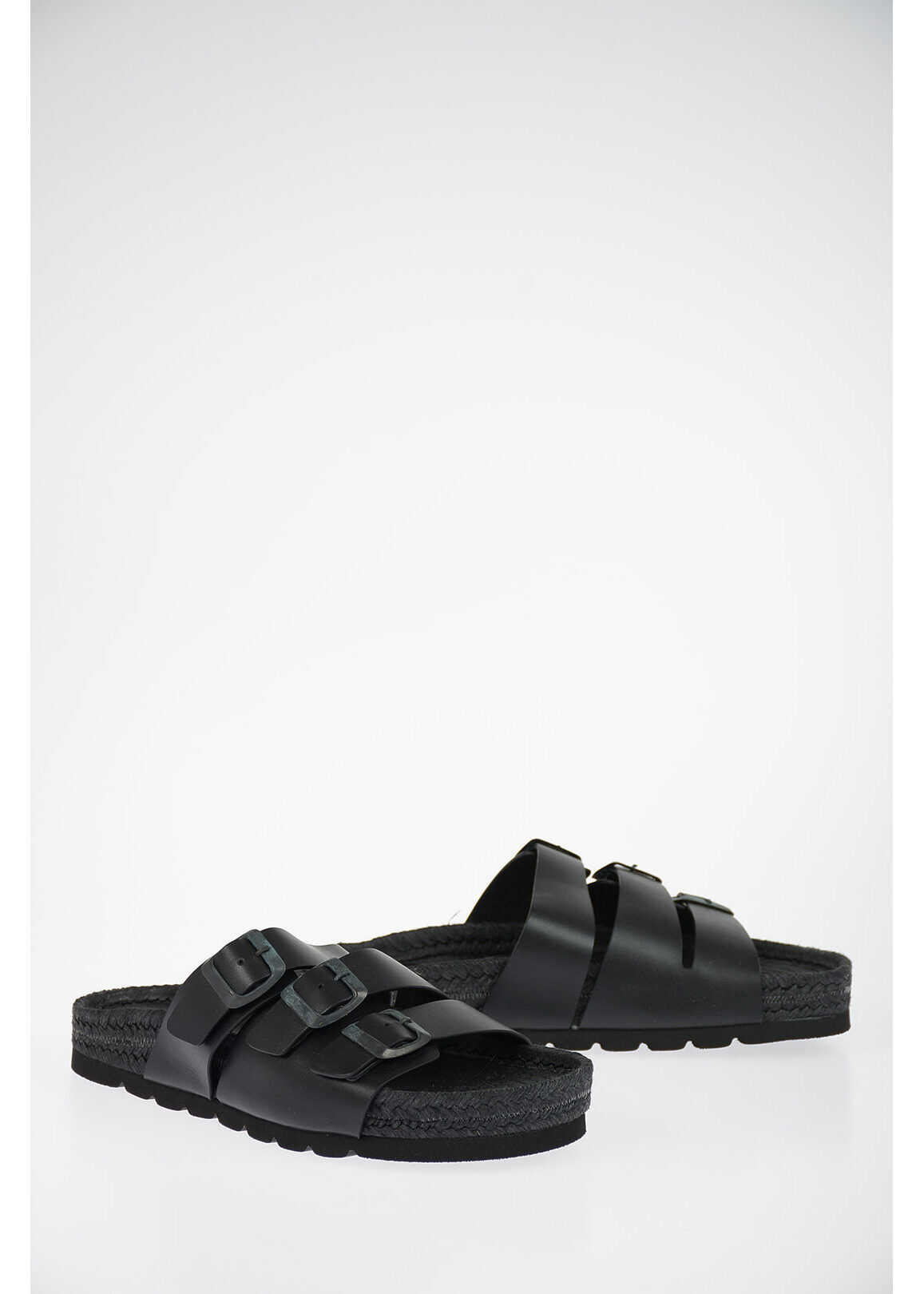Neil Barrett Leather ESPADRILLE TRIPLE STRAP Slides BLACK