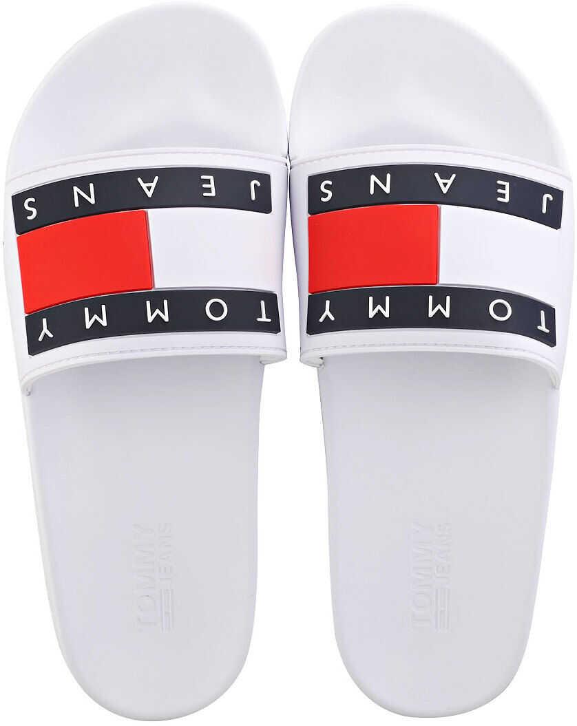 Tommy Jeans Flag Pool Slide Sandals In White* White