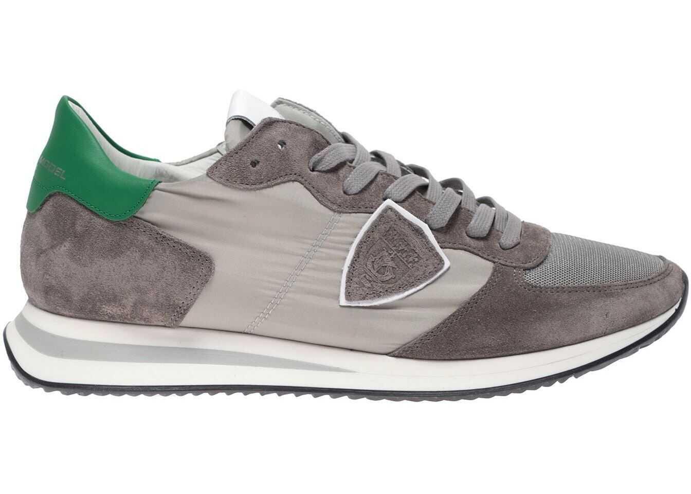 Philippe Model Trpx Mondial Sneakers In Grey With Green Heel Tab Grey