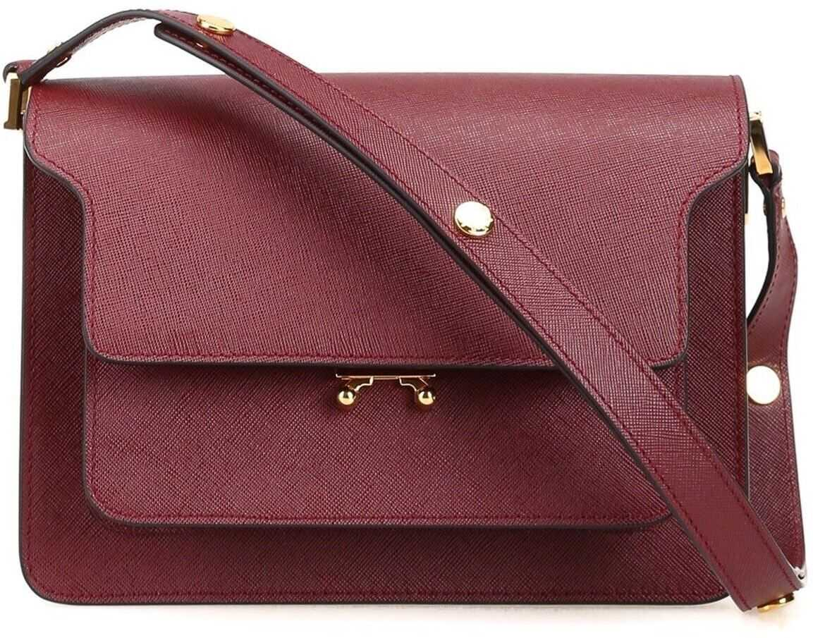 Marni Saffiano Leather Shoulder Bag In Burgundy SBMPN09NO1 LV520 ZR82N Red imagine b-mall.ro