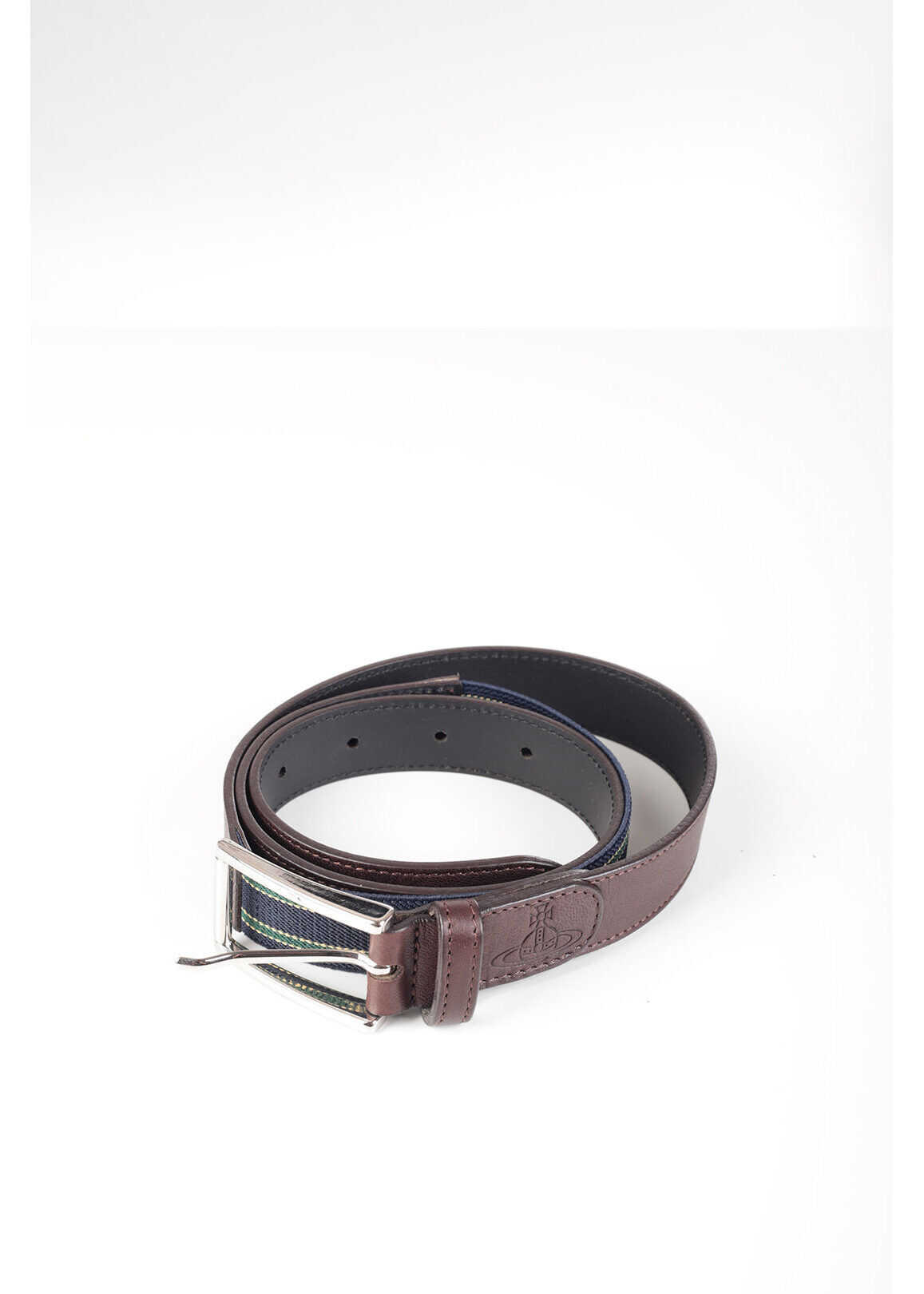 Vivienne Westwood Leather Belt with Stretchy Insert 25mm BROWN