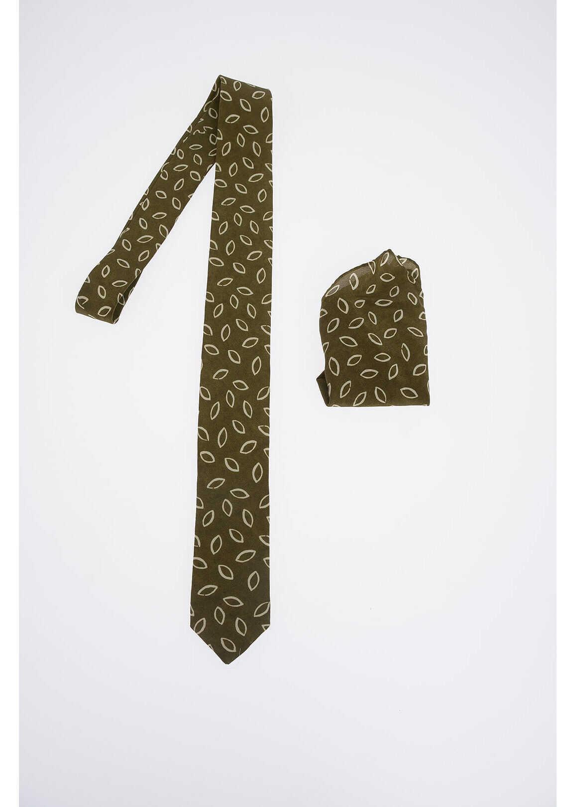 CORNELIANI CC COLLECTION Silk Printed Tie GREEN